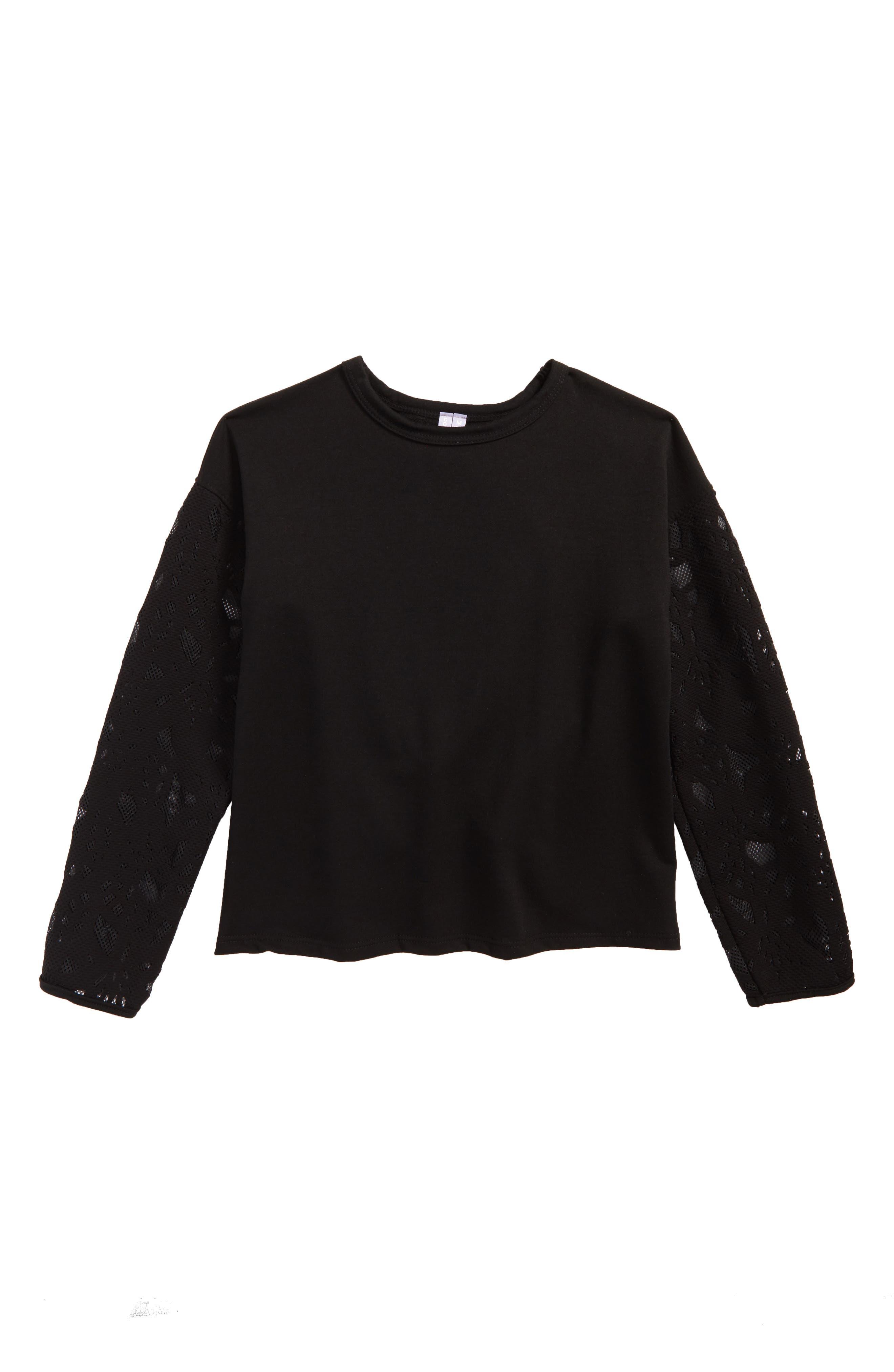 Main Image - Good Luck Gem Contrast Sleeve Sweatshirt (Big Girls)