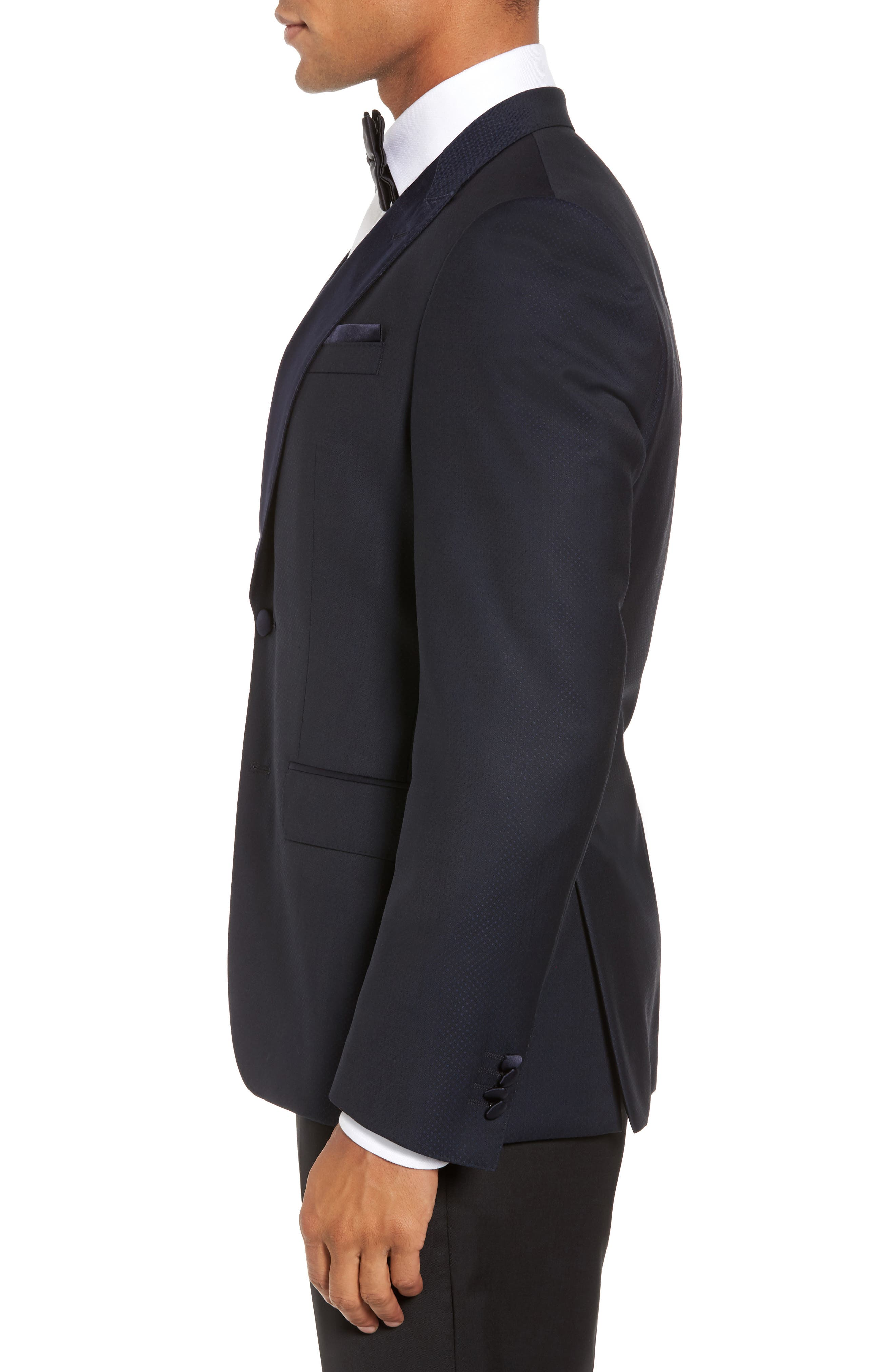 Helward Trim Fit Wool Dinner Jacket,                             Alternate thumbnail 3, color,                             Navy