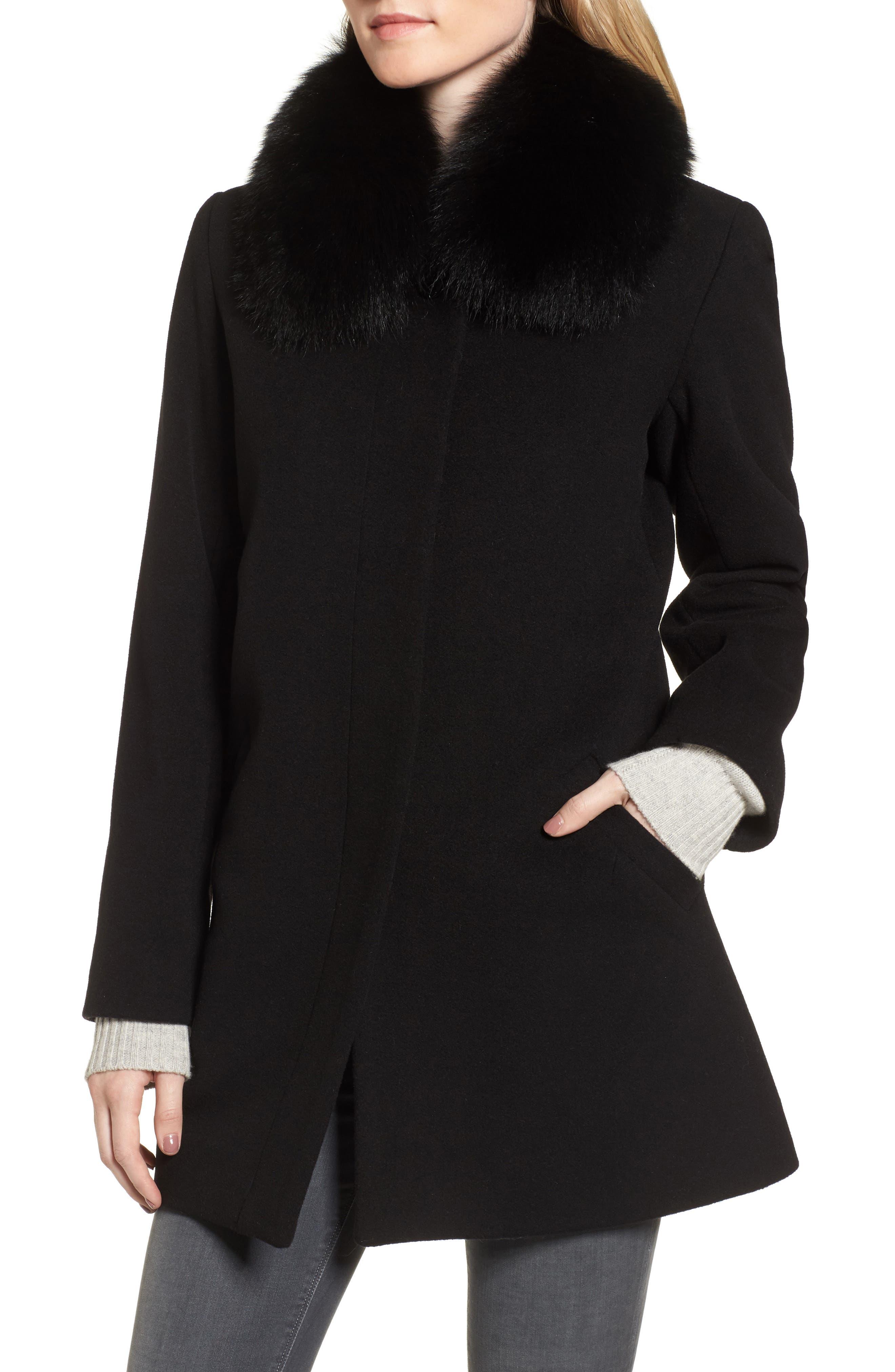 Sofia Cashmere Wool & Cashmere Car Coat with Genuine Fox Fur Club Collar
