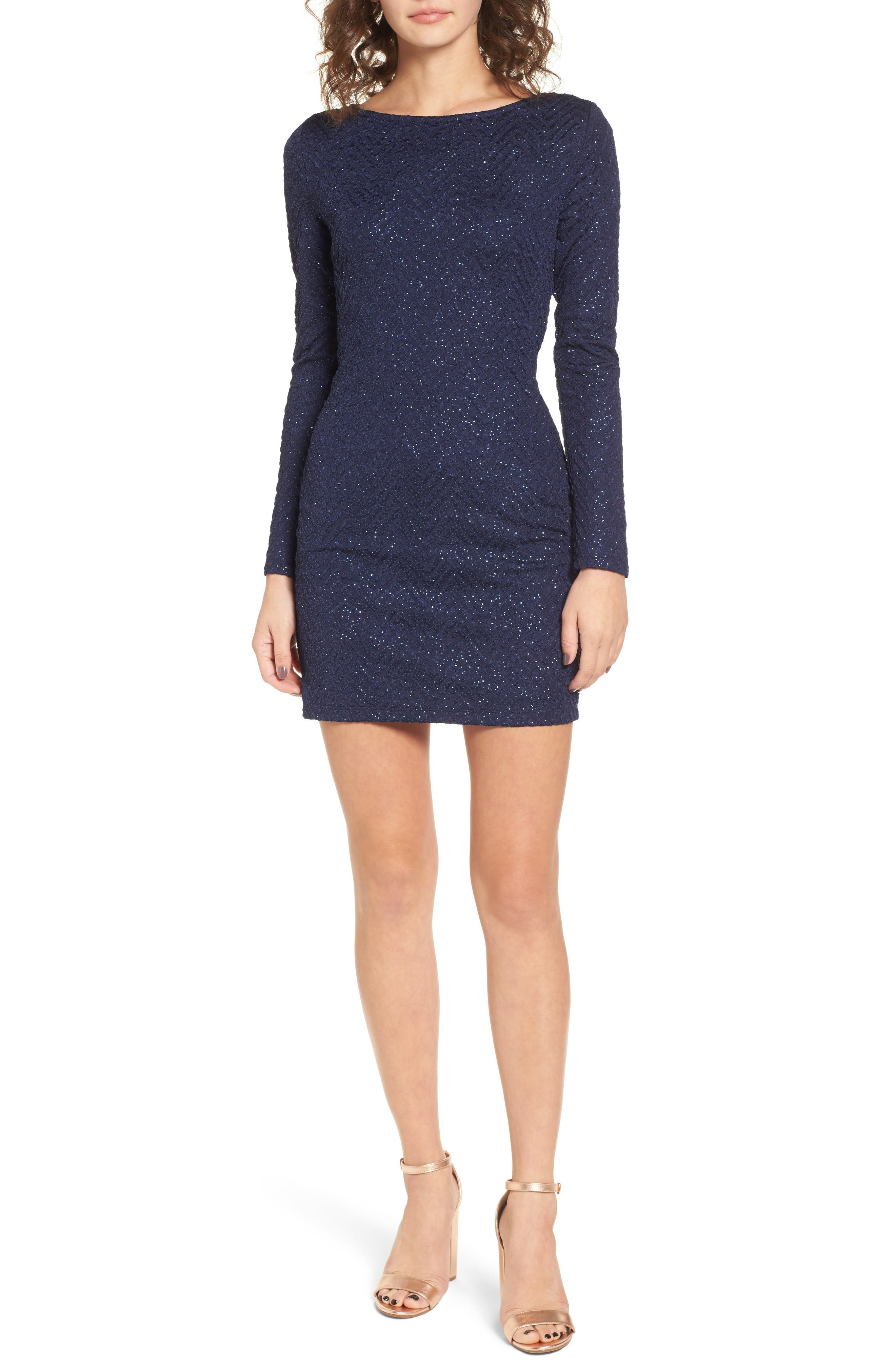 Love Nickie Lew Cross Back Metallic Dress,                         Main,                         color, Navy