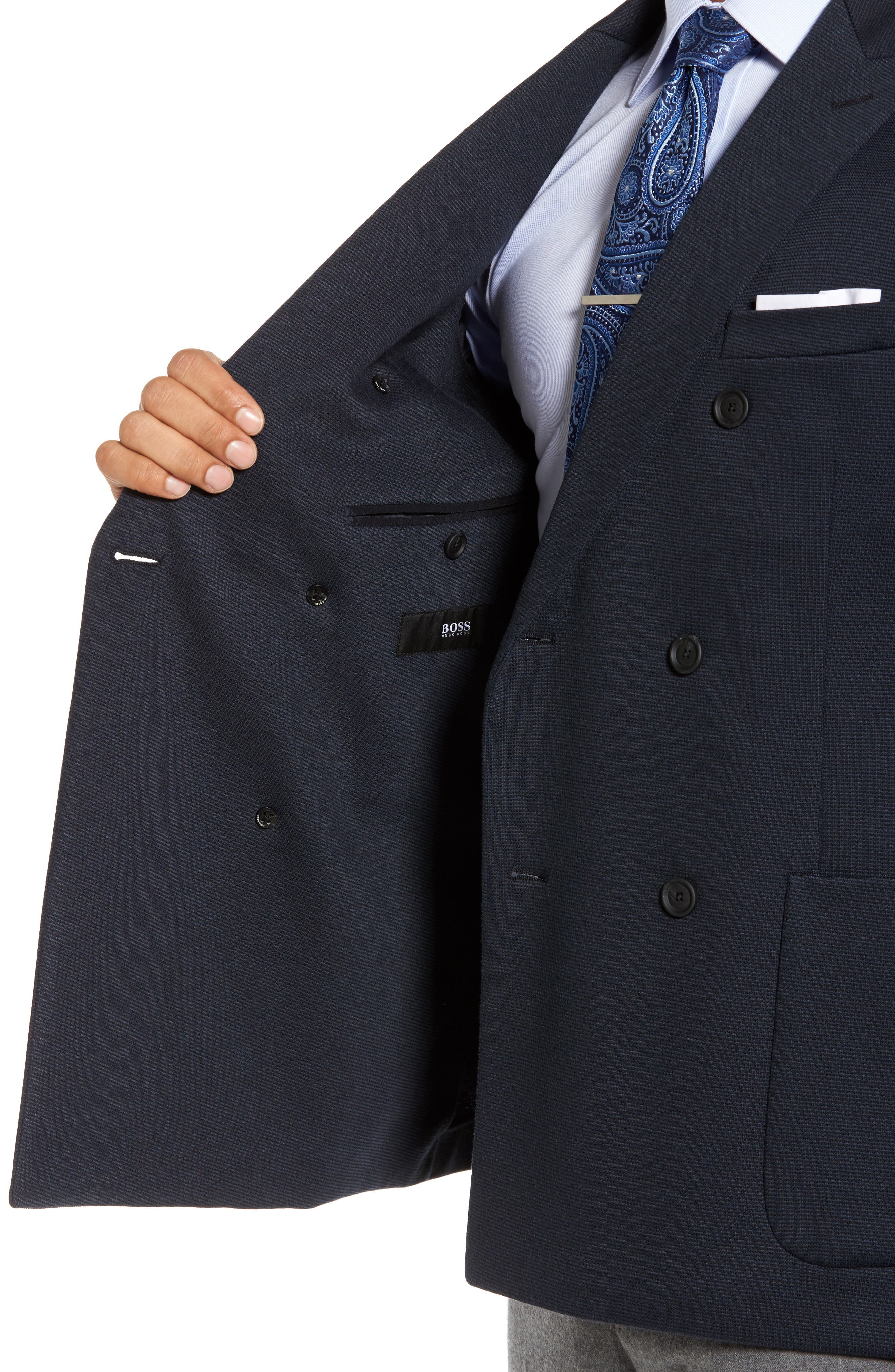 Nayler-J Trim Fit Double-Breasted Blazer,                             Alternate thumbnail 4, color,                             Navy