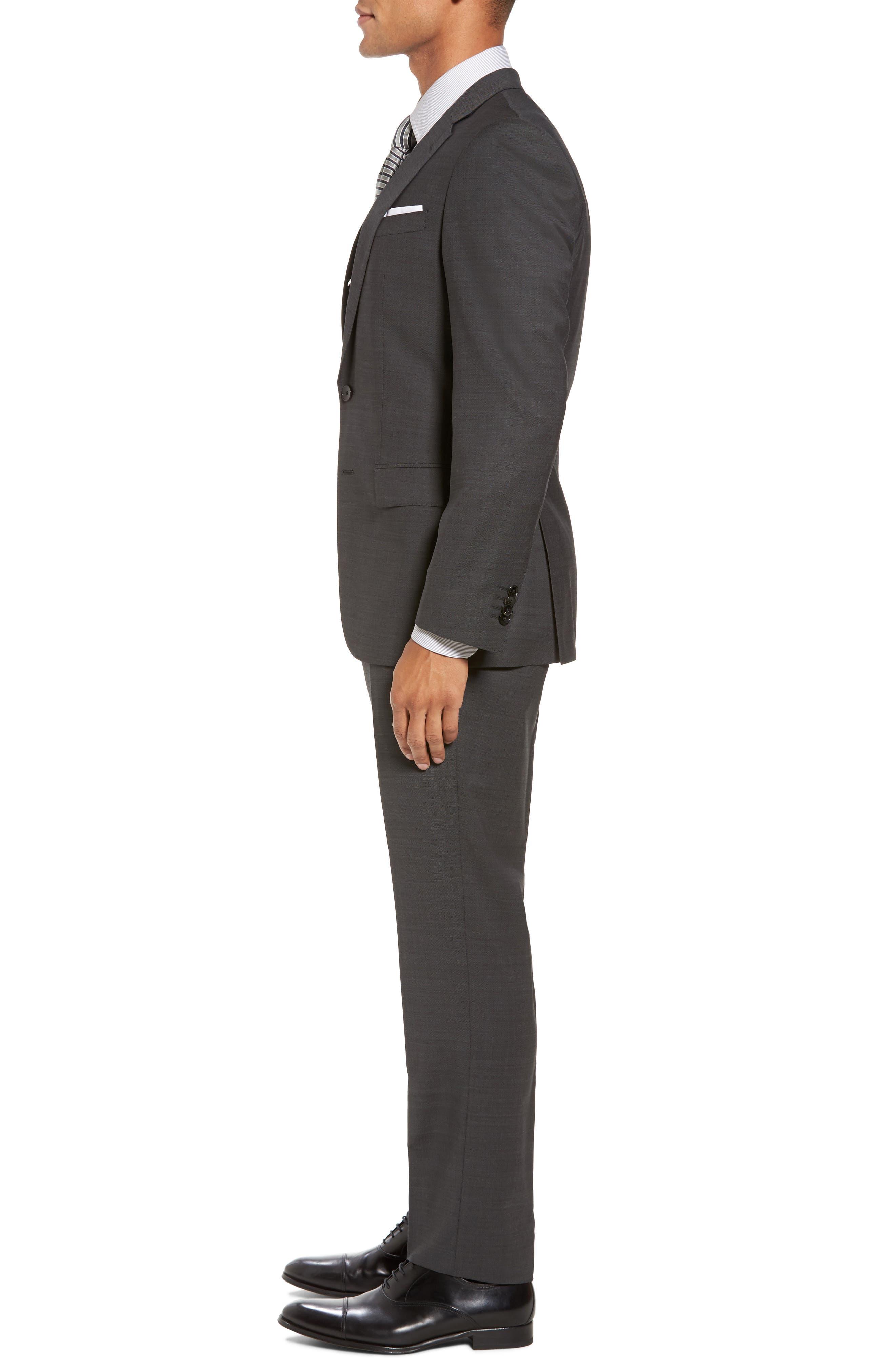 Huge/Genius Trim Fit Solid Wool Suit,                             Alternate thumbnail 3, color,                             Open Grey