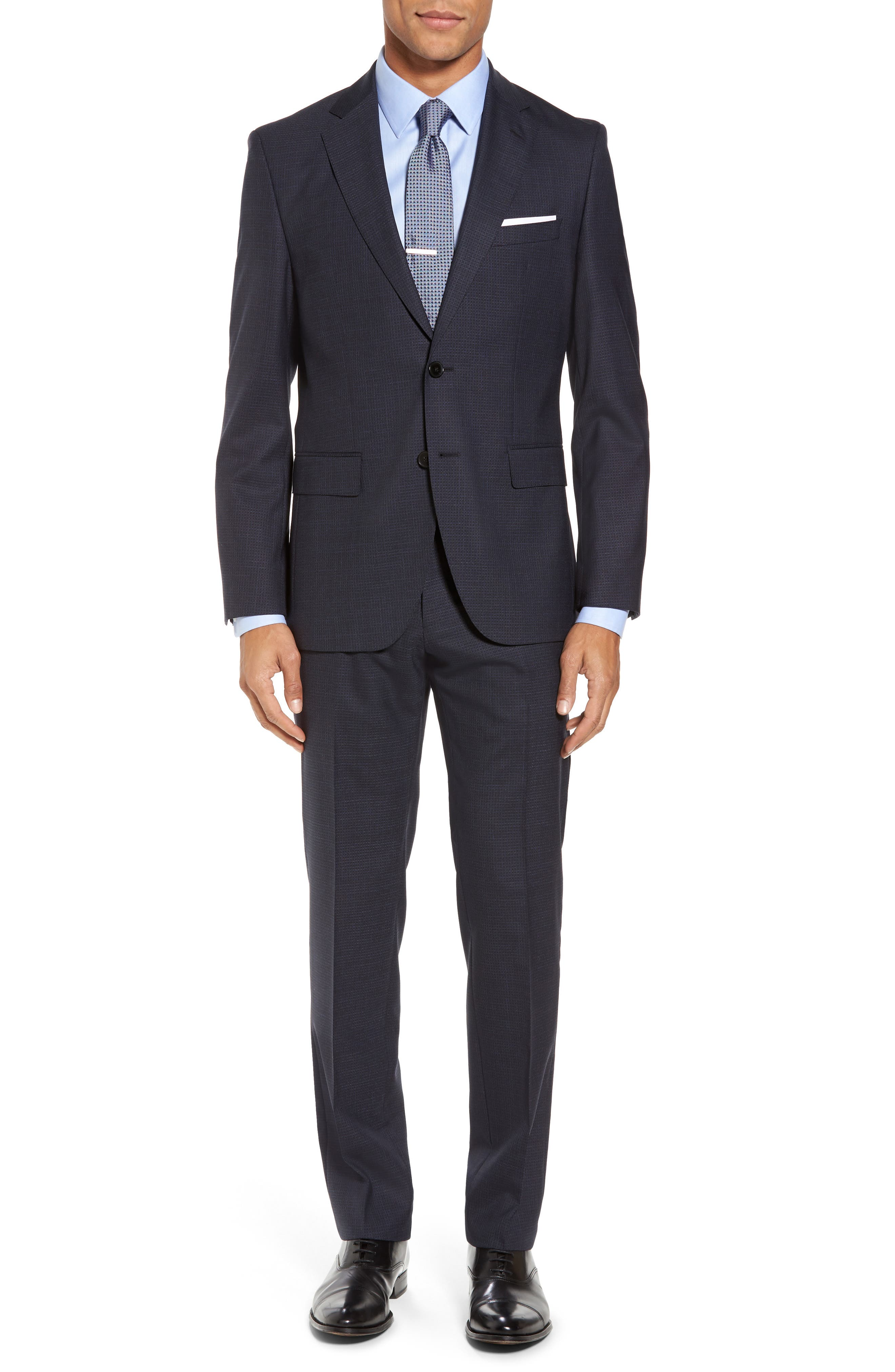 Johnstons/Lenon Classic Fit Check Wool Suit,                         Main,                         color, Dark Blue