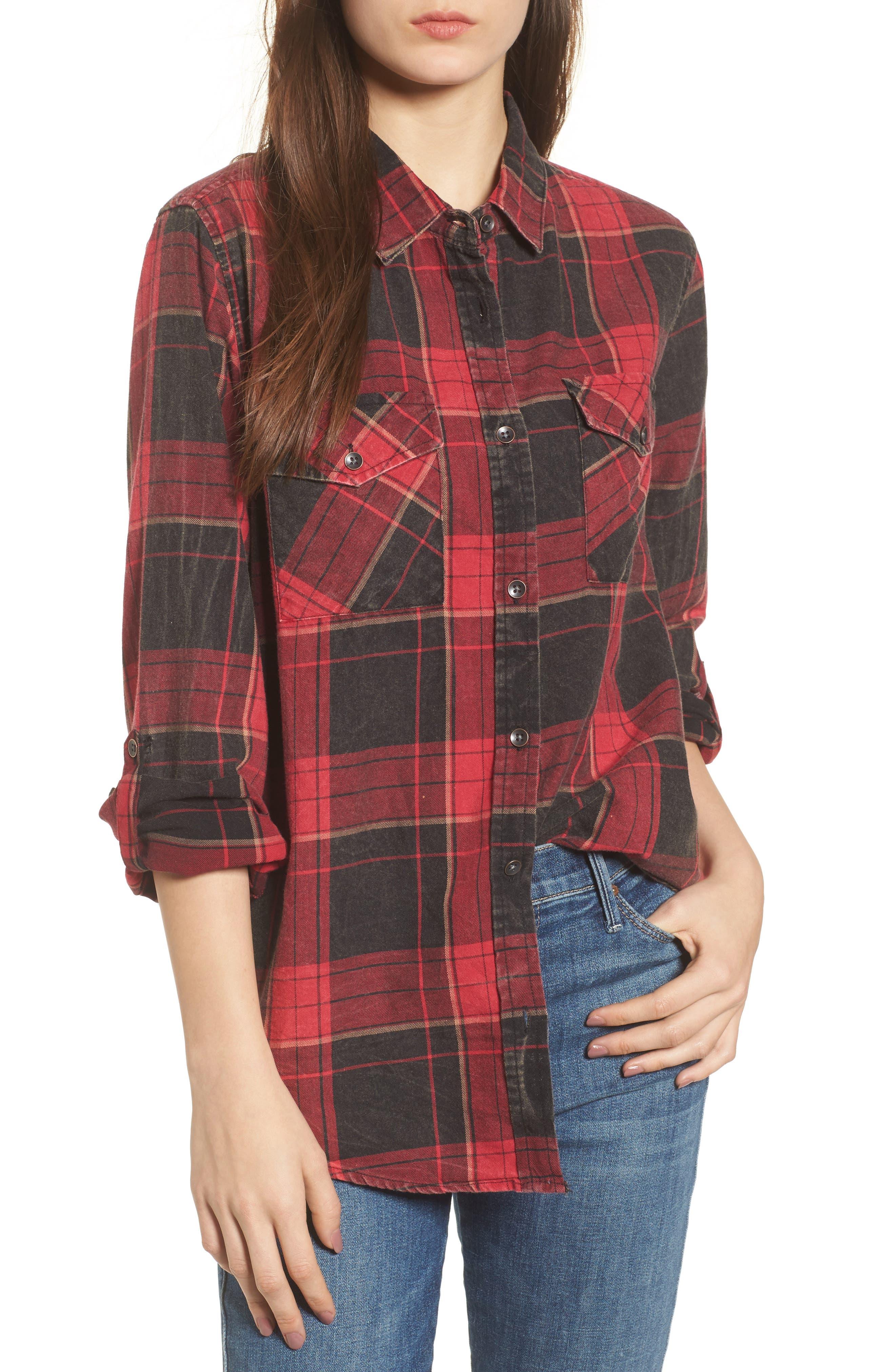 Hendrix Plaid Shirt,                         Main,                         color, Red/ Black