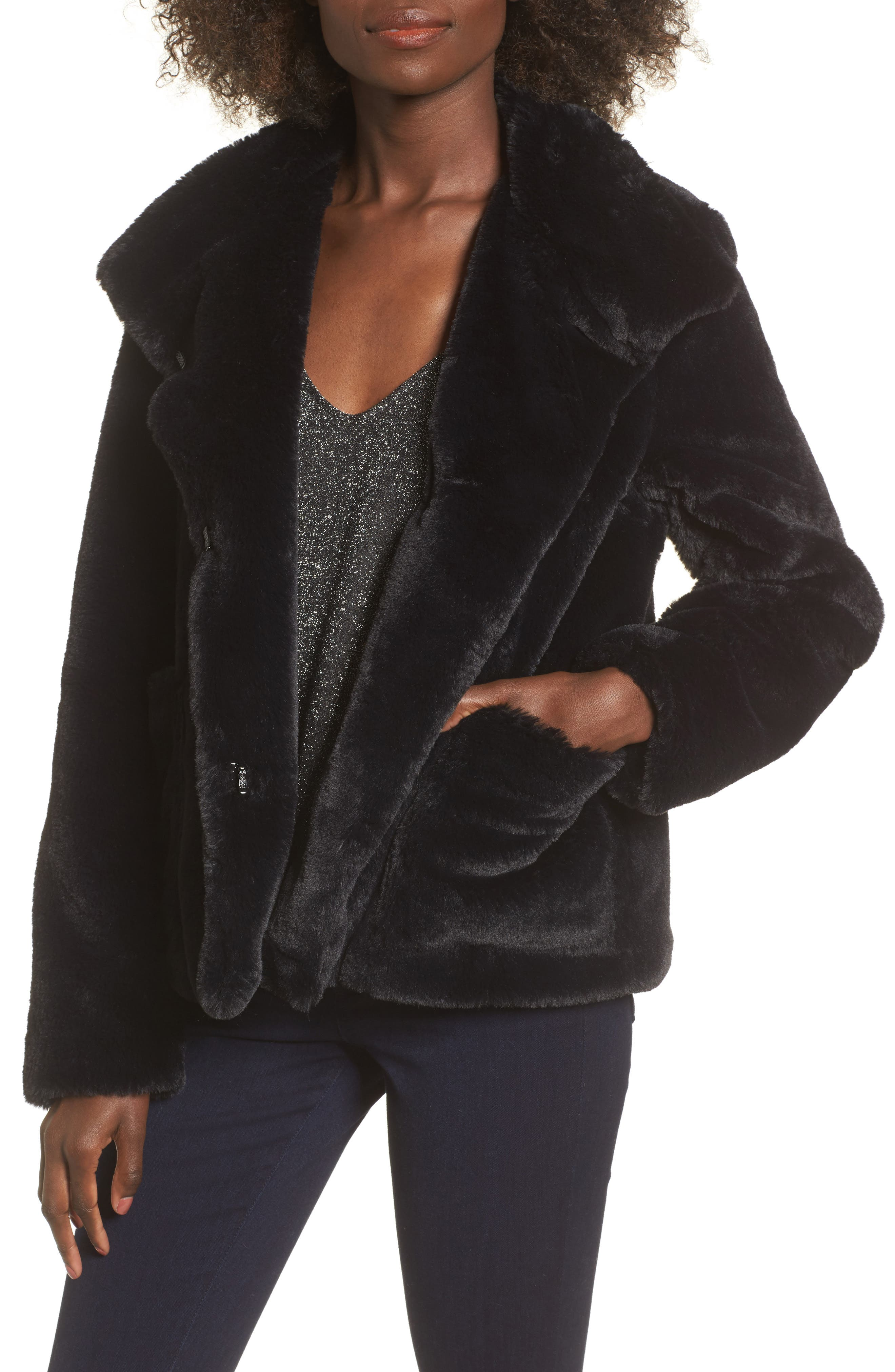 Fur-Fect Faux Fur Jacket,                             Main thumbnail 1, color,                             Black