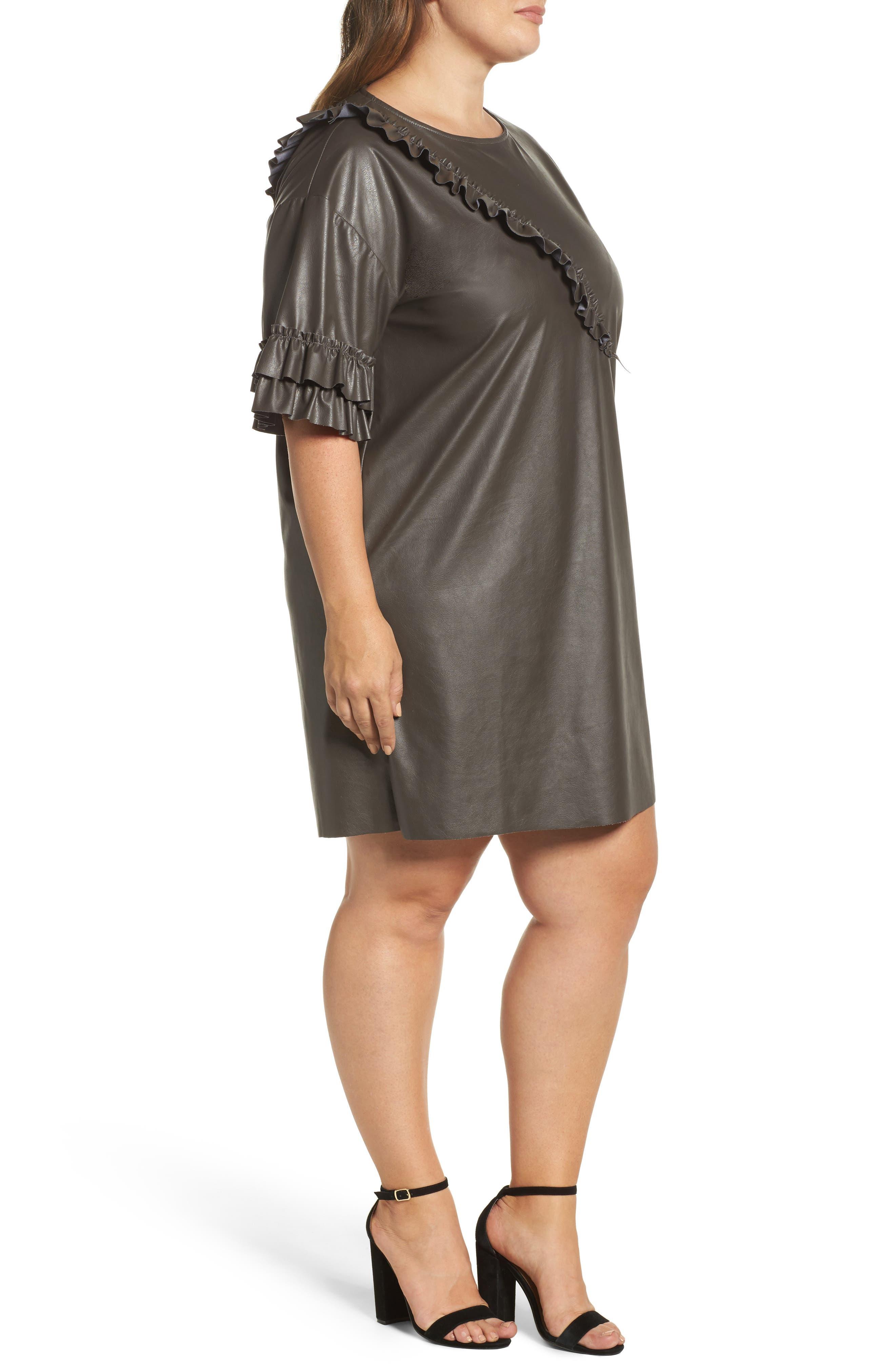 Alternate Image 3  - ELVI Ruffle Shift Dress (Plus Size)