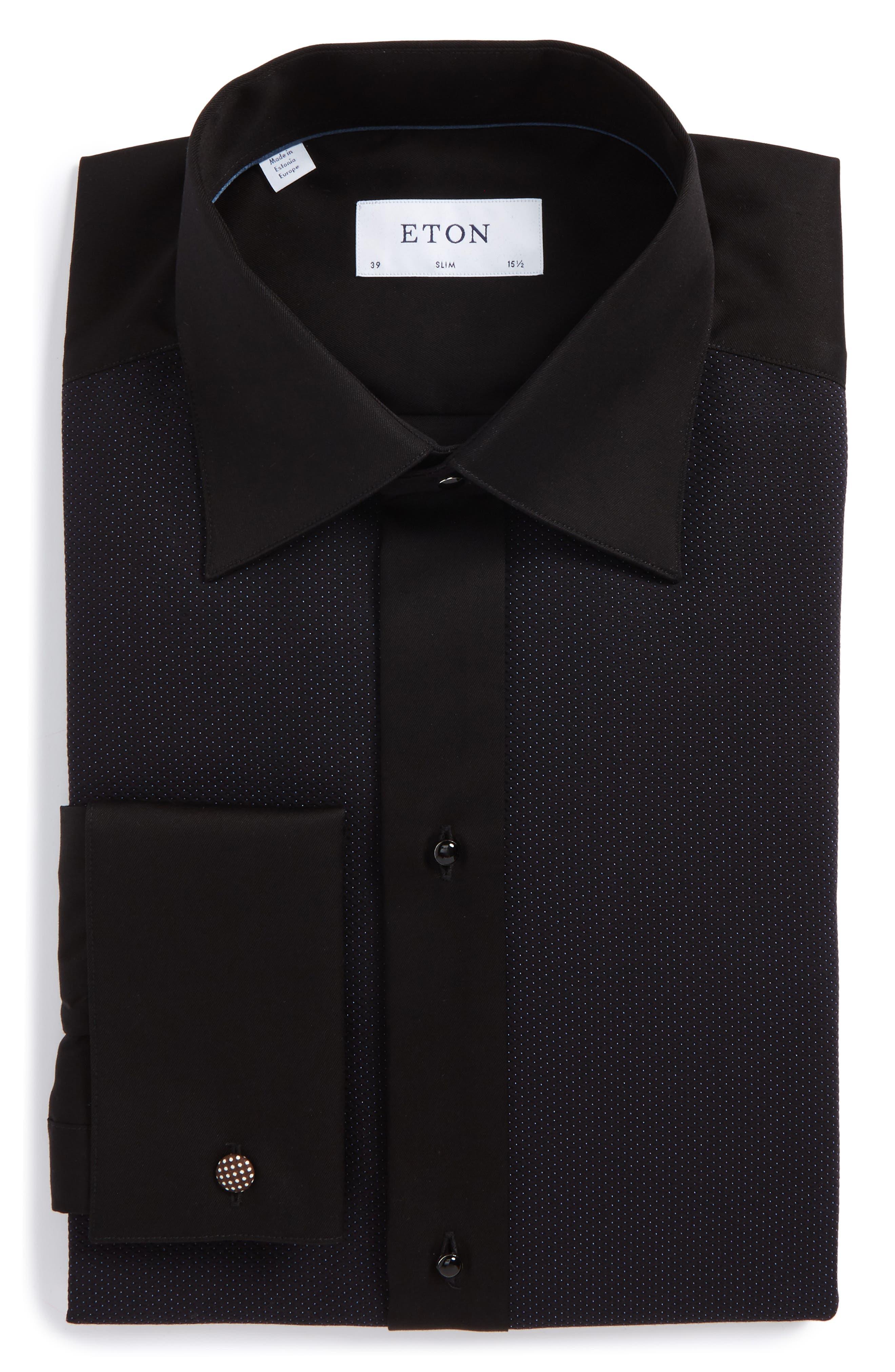 Eton Slim Fit Microprint Tuxedo Shirt