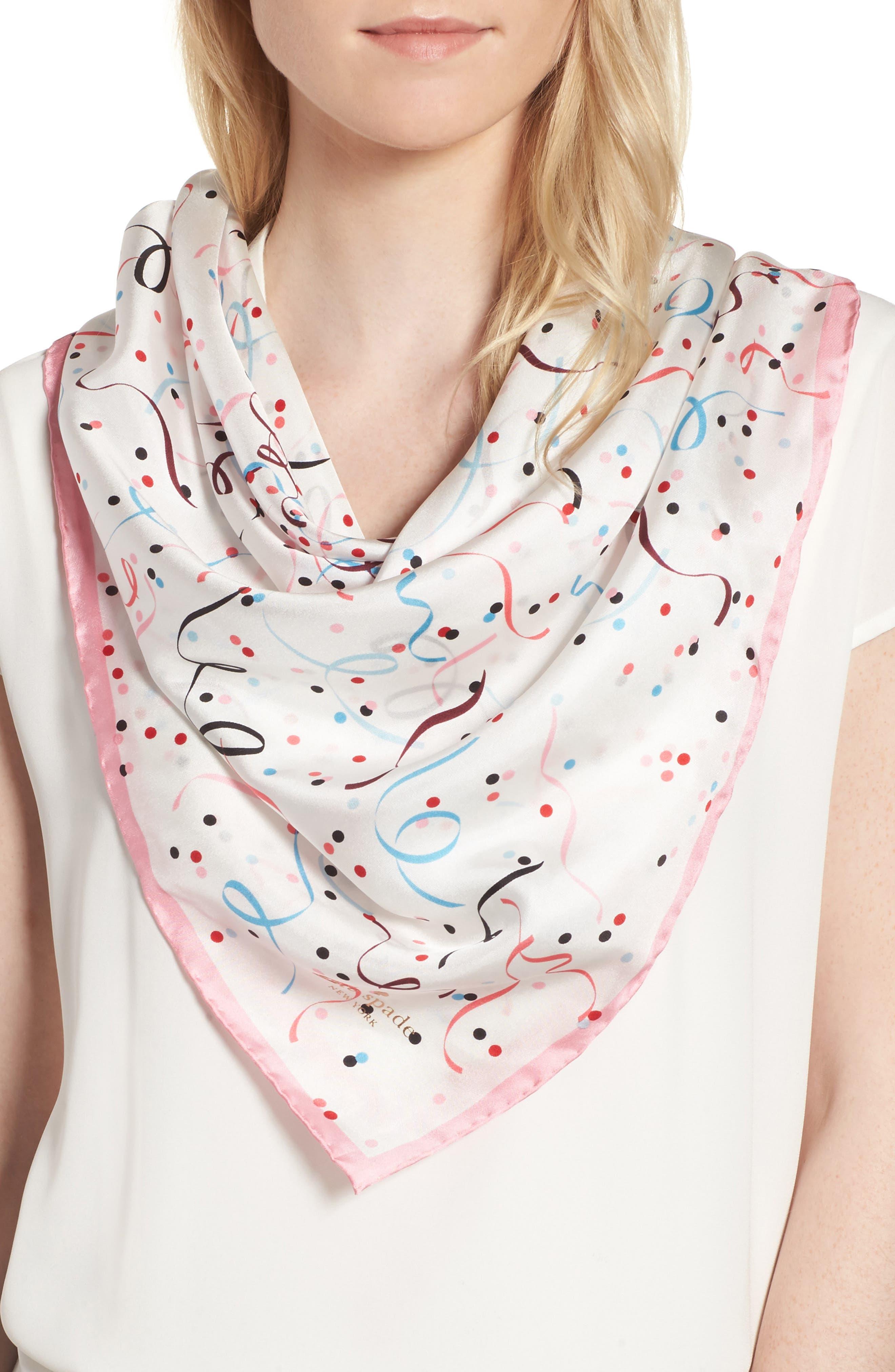 kate spade new york confetti square silk scarf