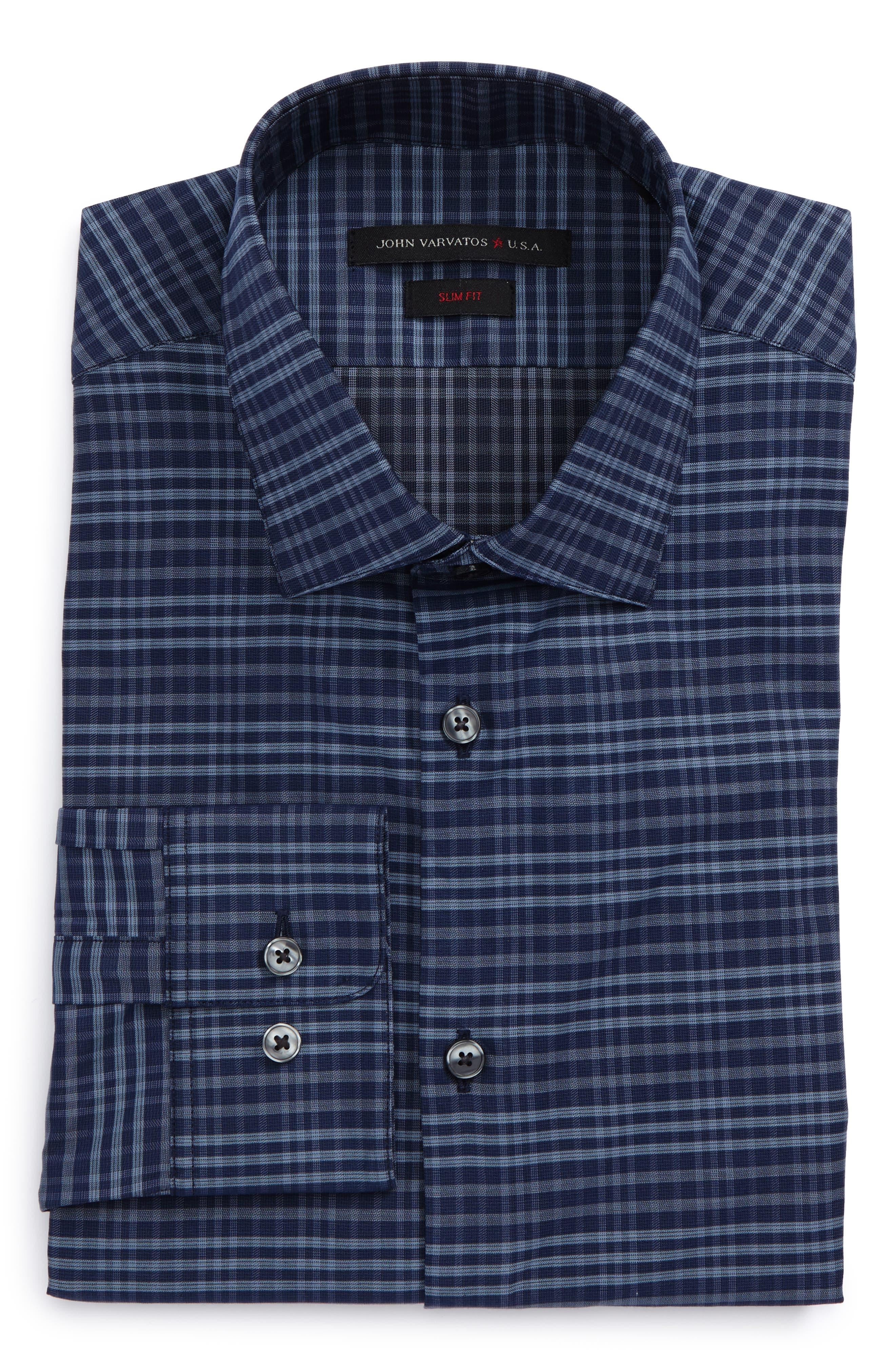 Slim Fit Stretch Check Dress Shirt,                         Main,                         color, Atlantic Blue