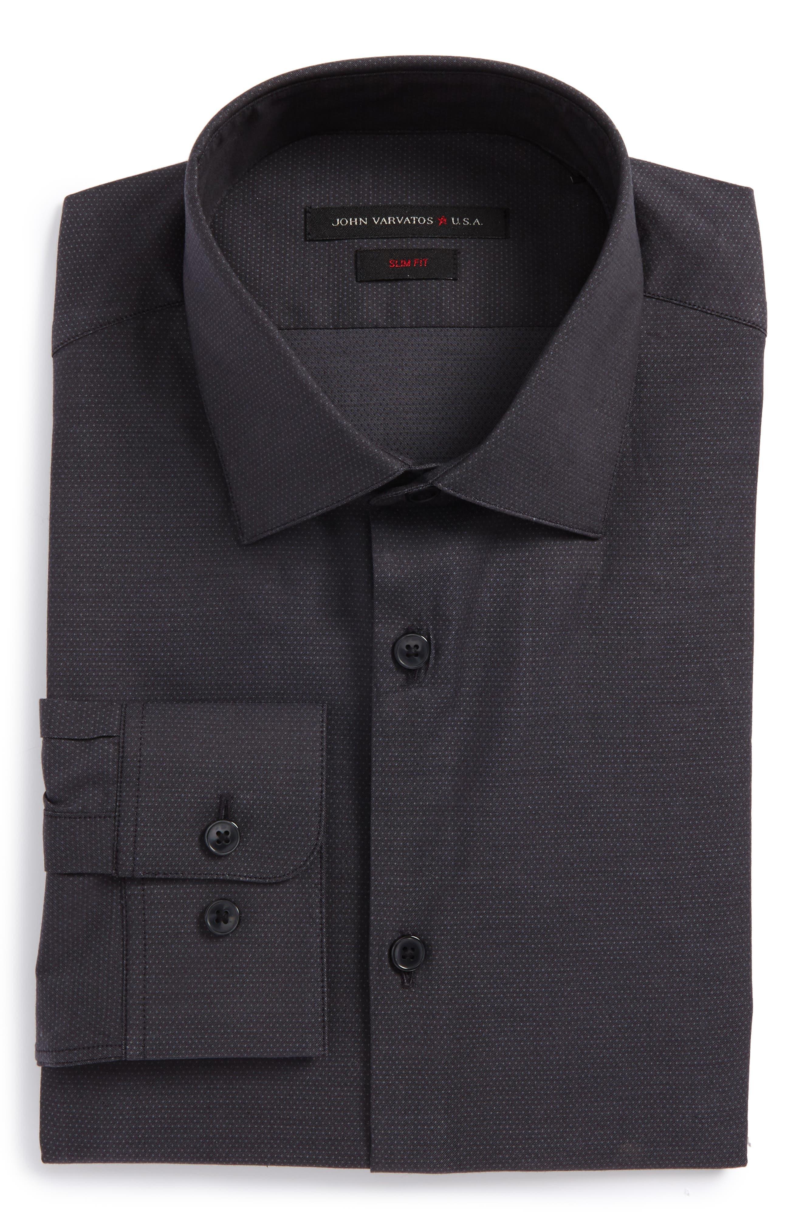 Slim Fit Dress Shirt,                         Main,                         color, Steel Grey