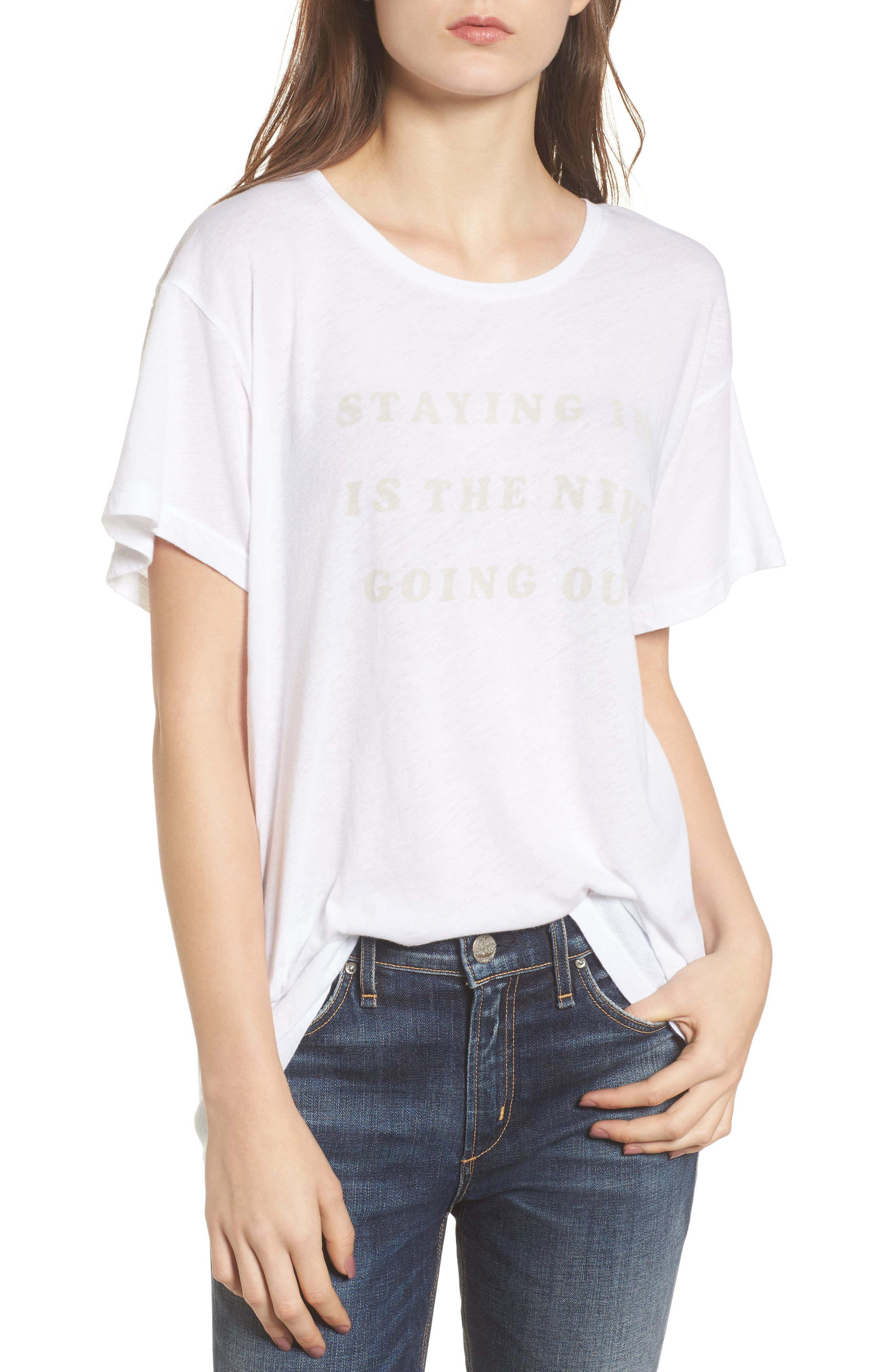 Staying in Is the New Going Out Tee,                         Main,                         color, Clean White