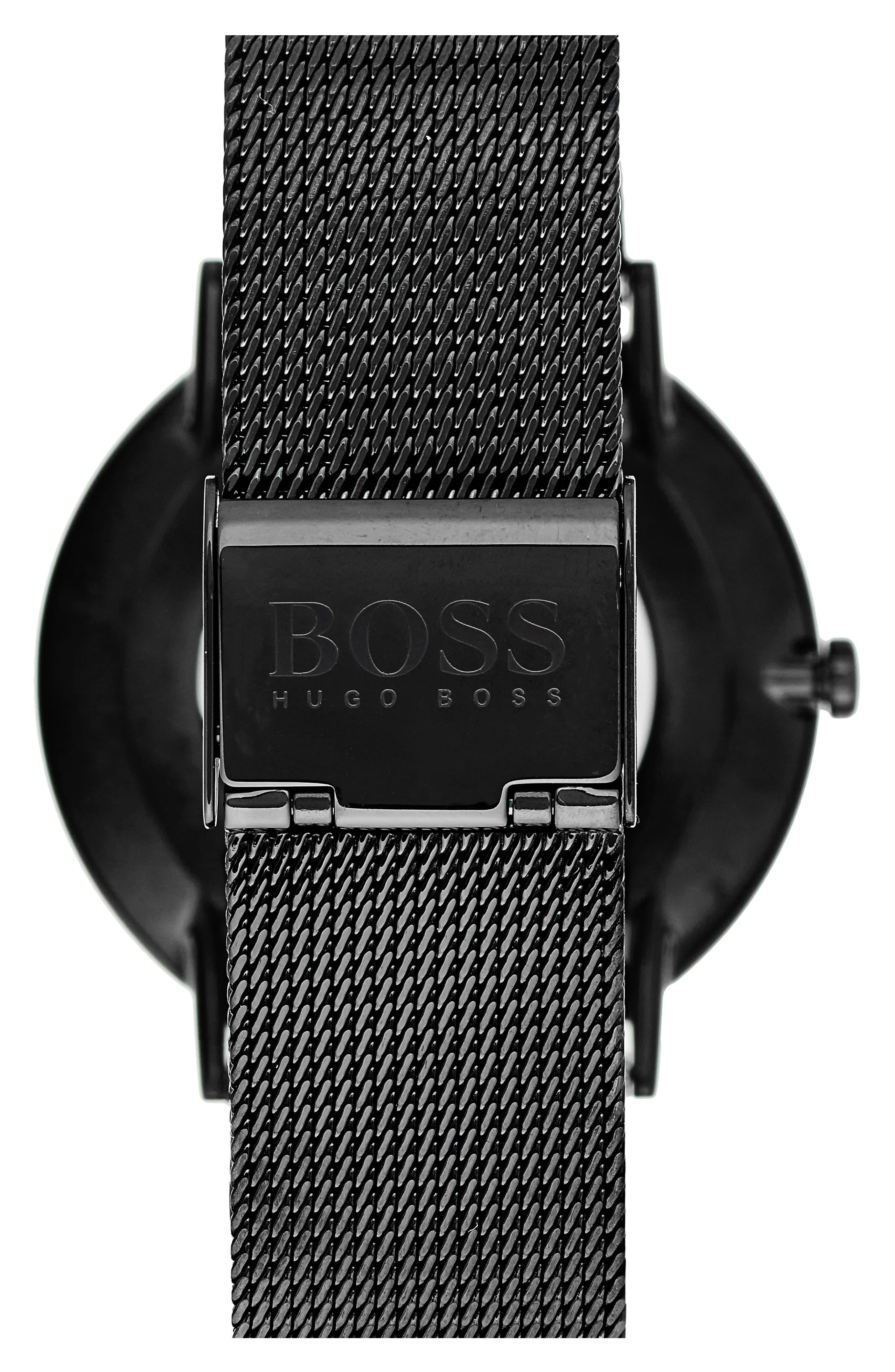 Horizon Mesh Strap Watch, 40mm,                             Alternate thumbnail 2, color,                             Black/ Black