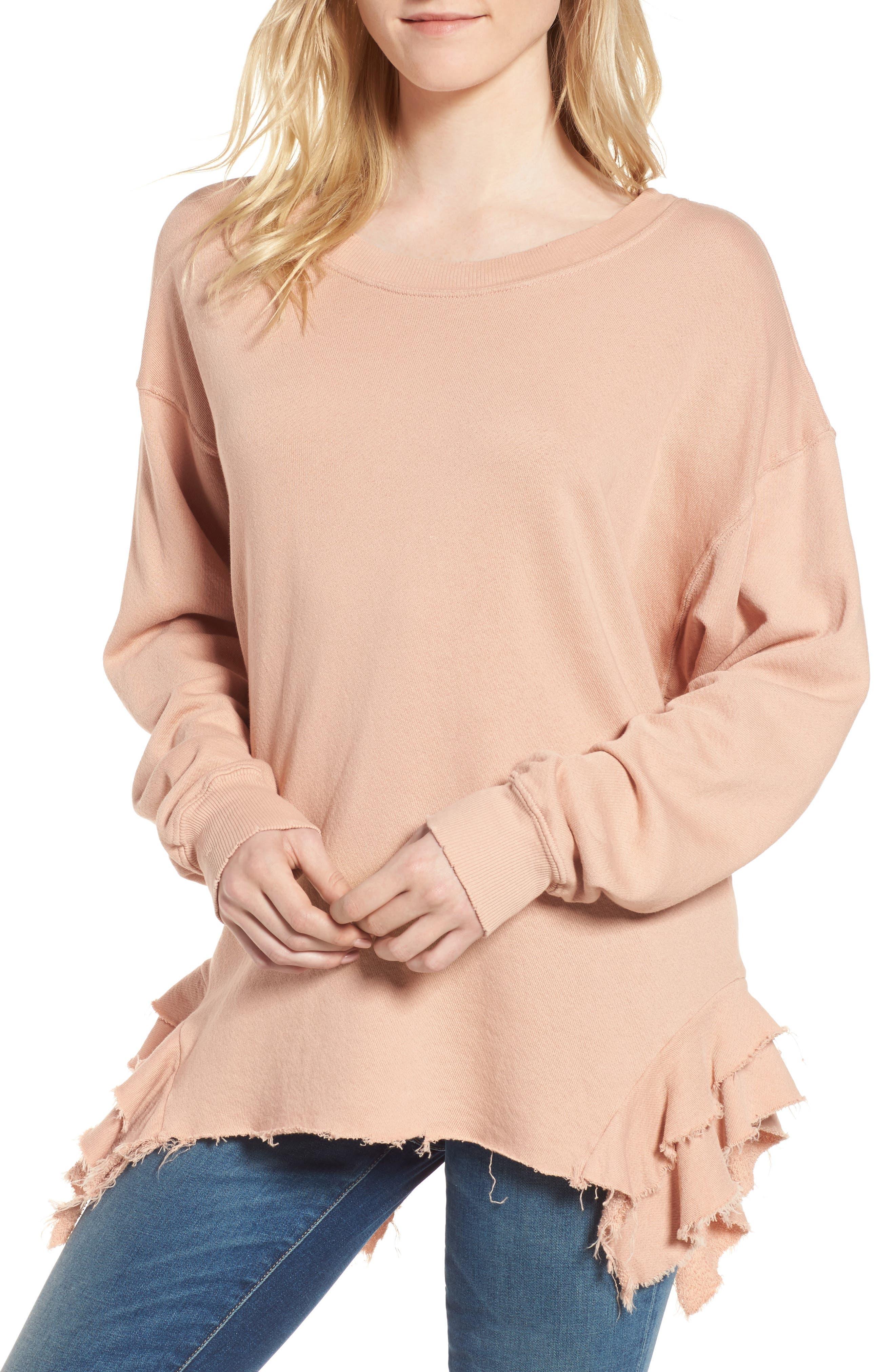 The Slouchy Ruffle Sweatshirt,                         Main,                         color, Misty Rose Destroy