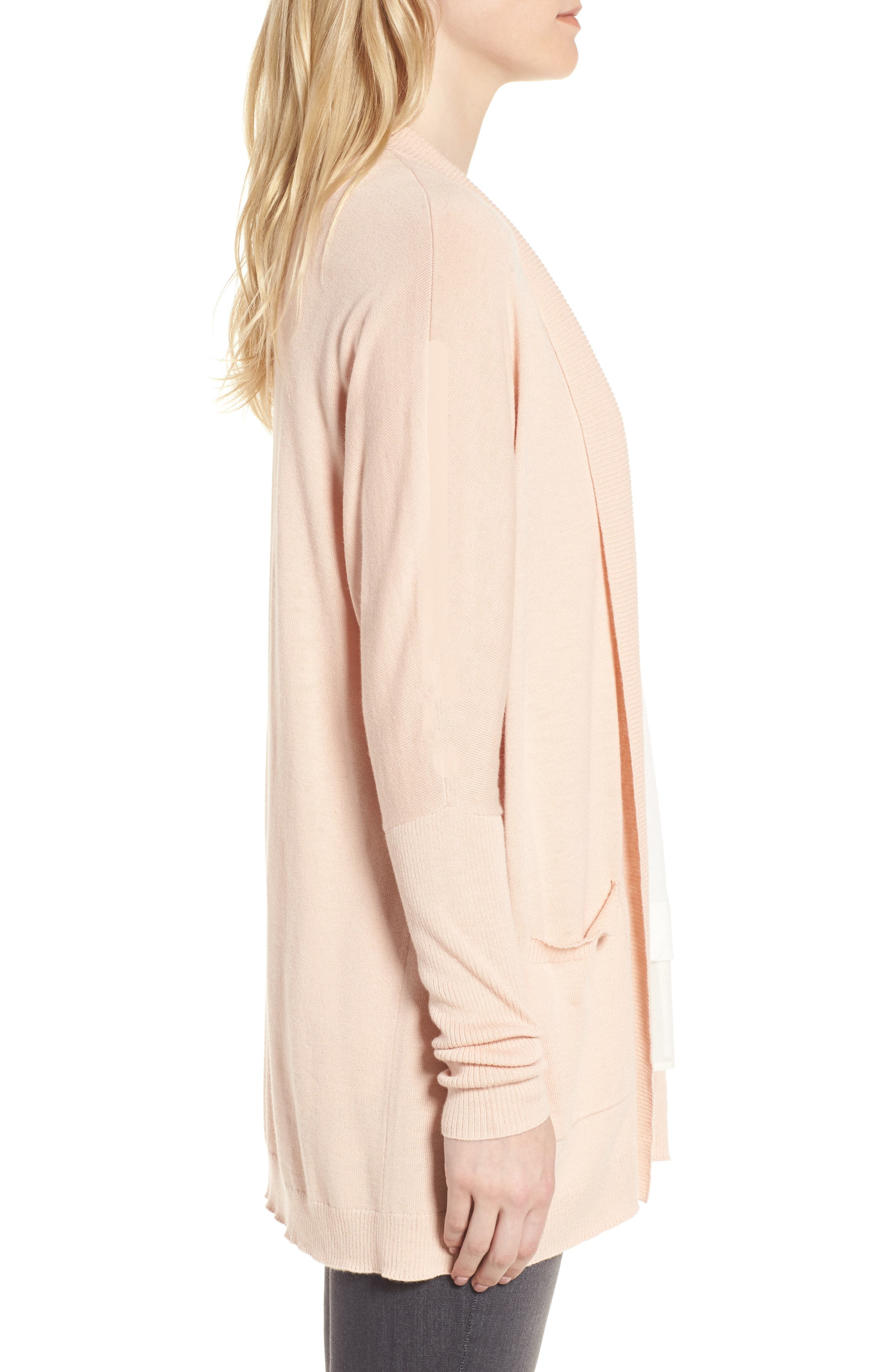 Open Front Cardigan,                             Alternate thumbnail 3, color,                             Pink Hero