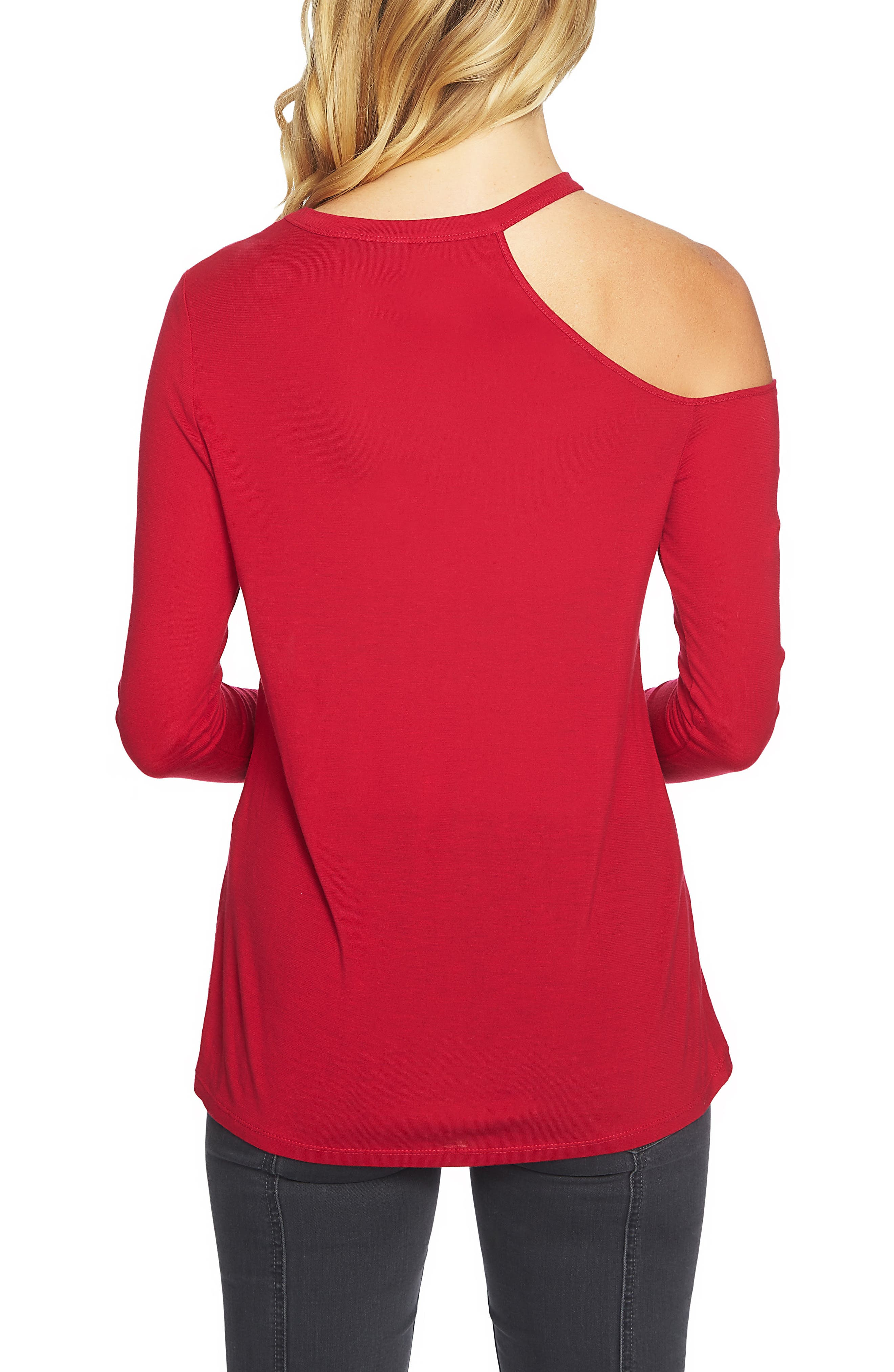 Cold Shoulder Top,                             Alternate thumbnail 2, color,                             Persian Red
