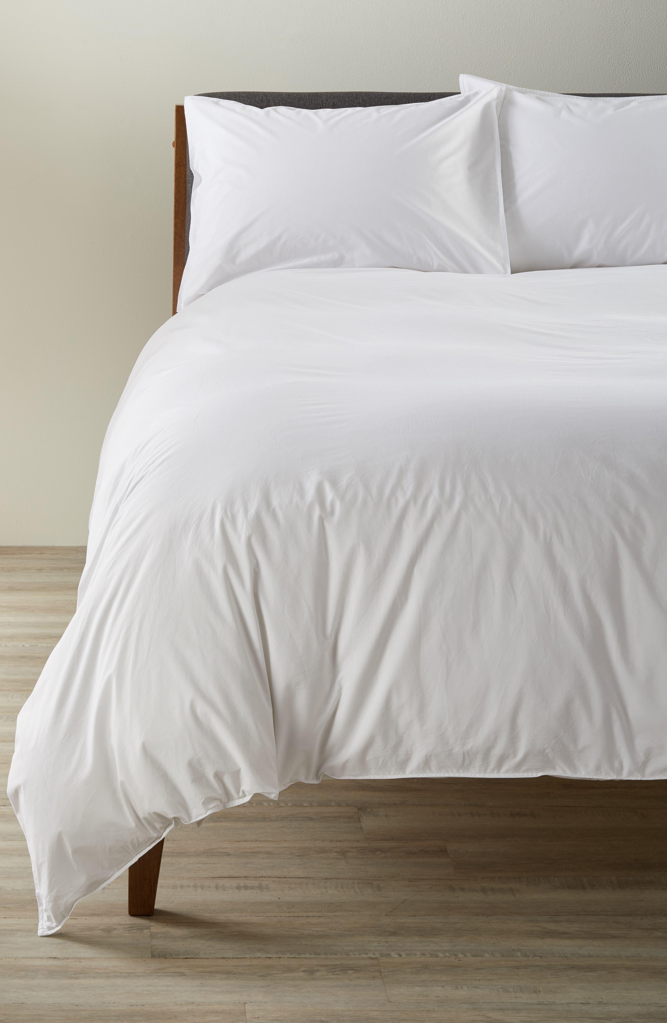 Parker Cotton Duvet Cover & Sham Set,                         Main,                         color, White