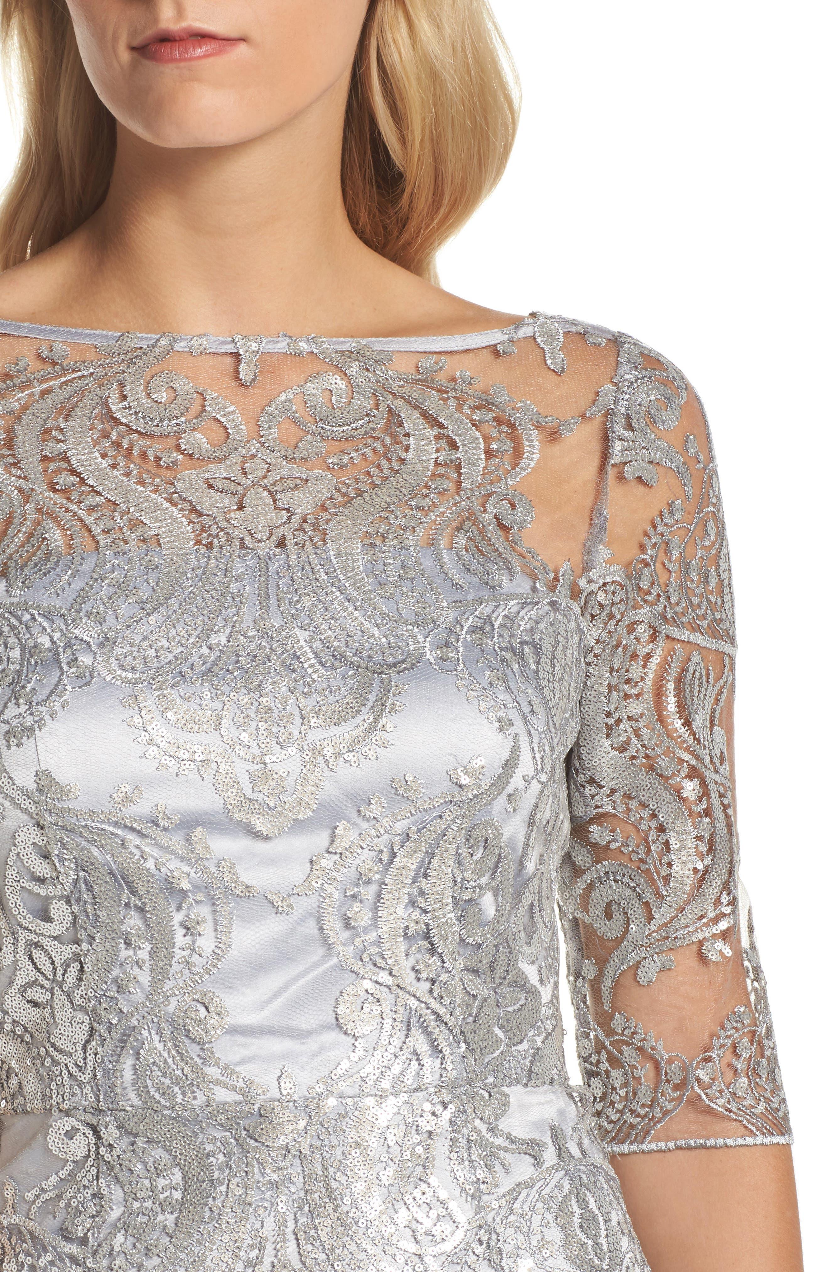 Sequin Illusion Sheath Dress,                             Alternate thumbnail 4, color,                             Silver