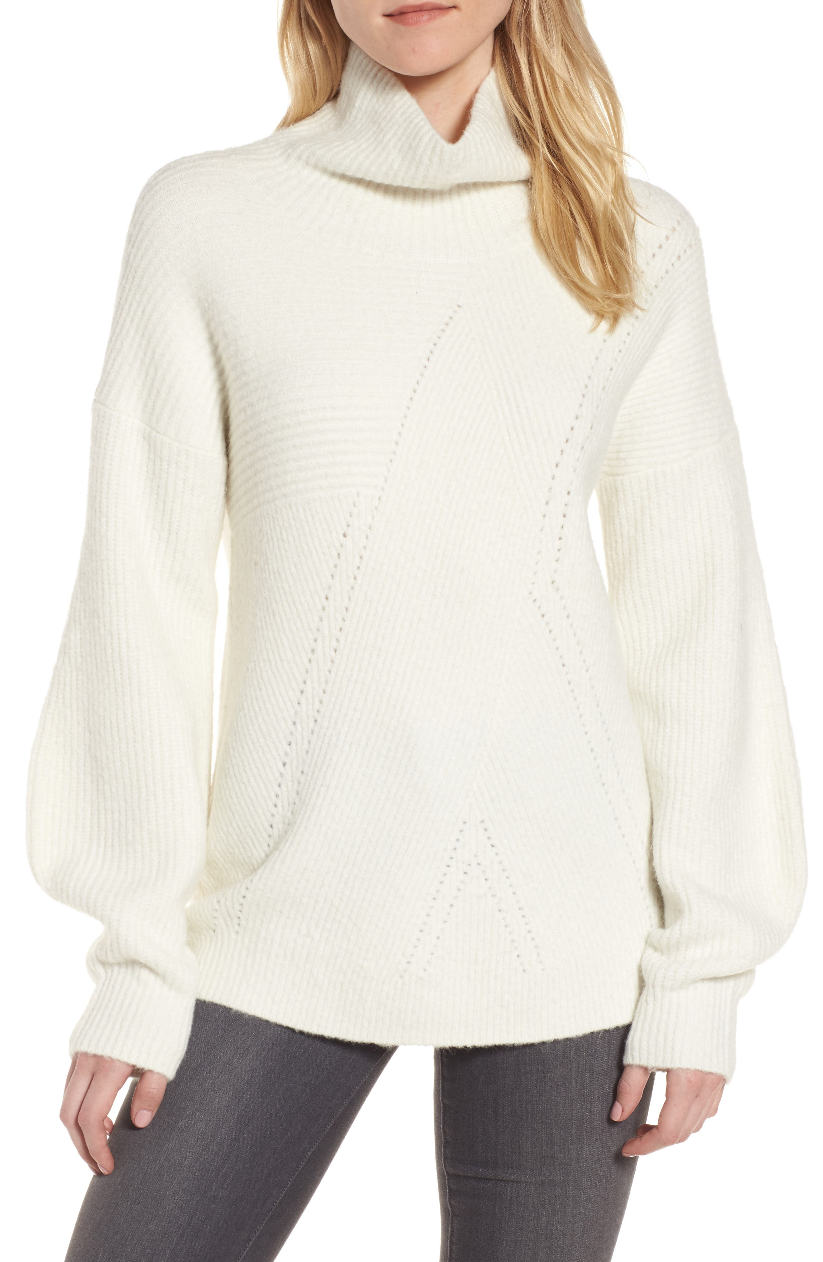 Funnel Neck Sweater,                             Main thumbnail 1, color,                             Ivory Vanilla