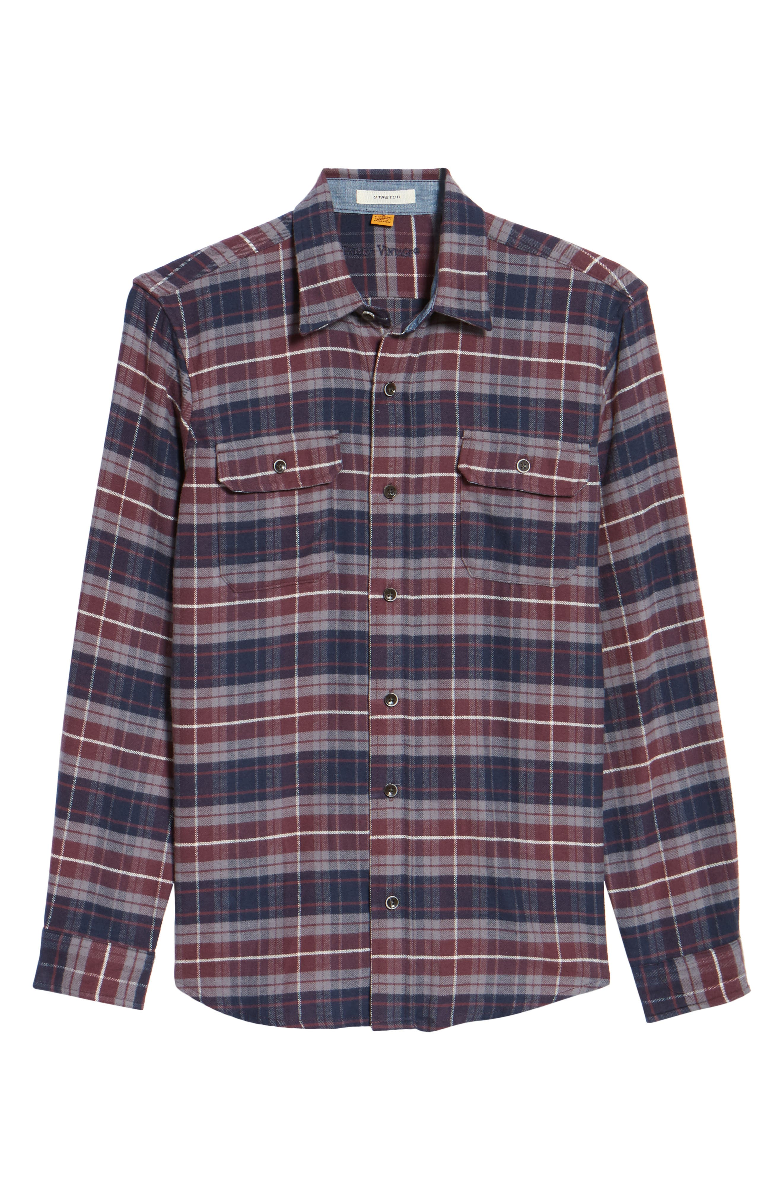 Plaid Flannel Sport Shirt,                             Alternate thumbnail 6, color,                             Raspberry Fudge Trail Plaid