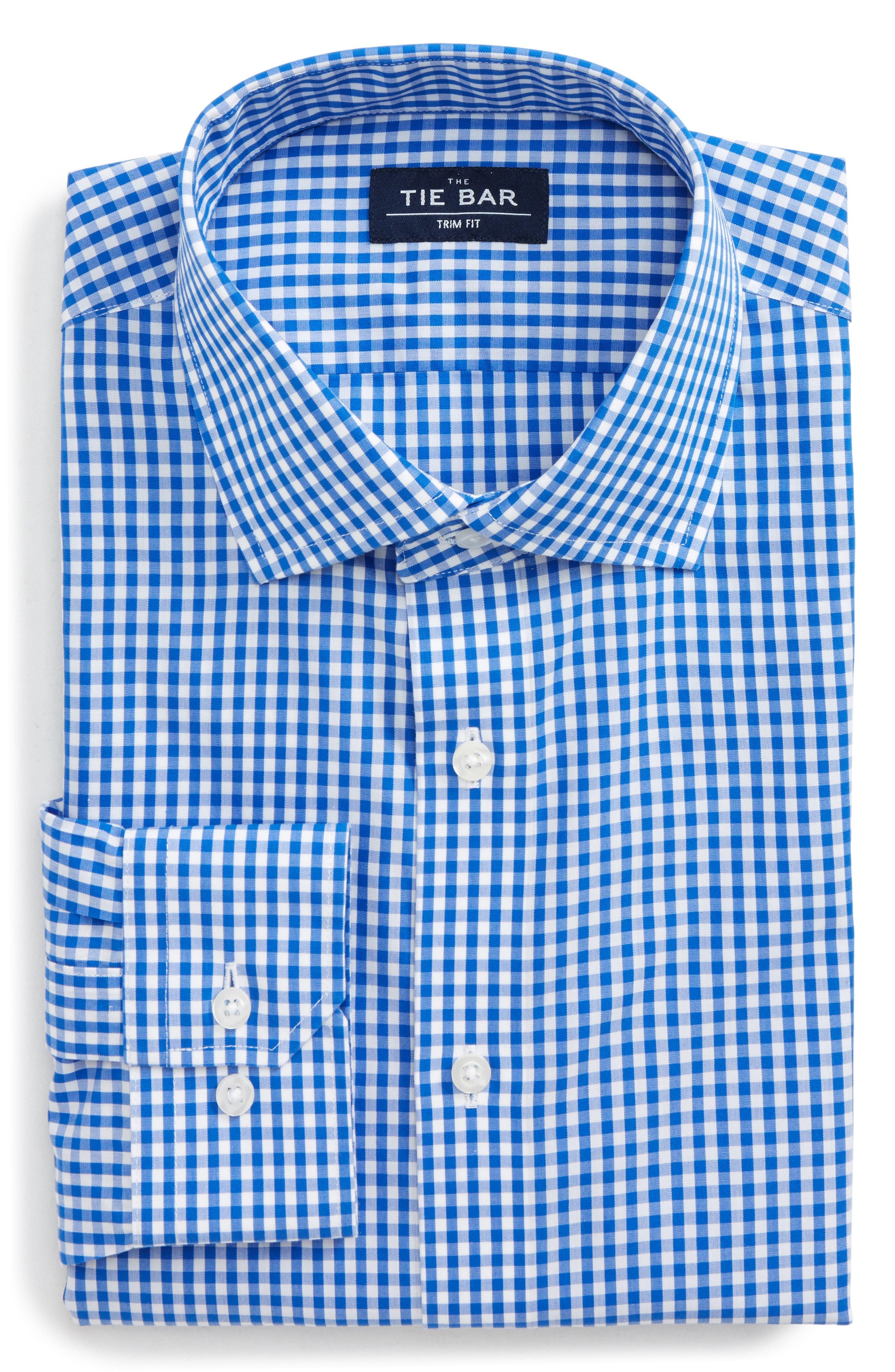 Trim Fit Check Dress Shirt,                         Main,                         color, Classic Blue