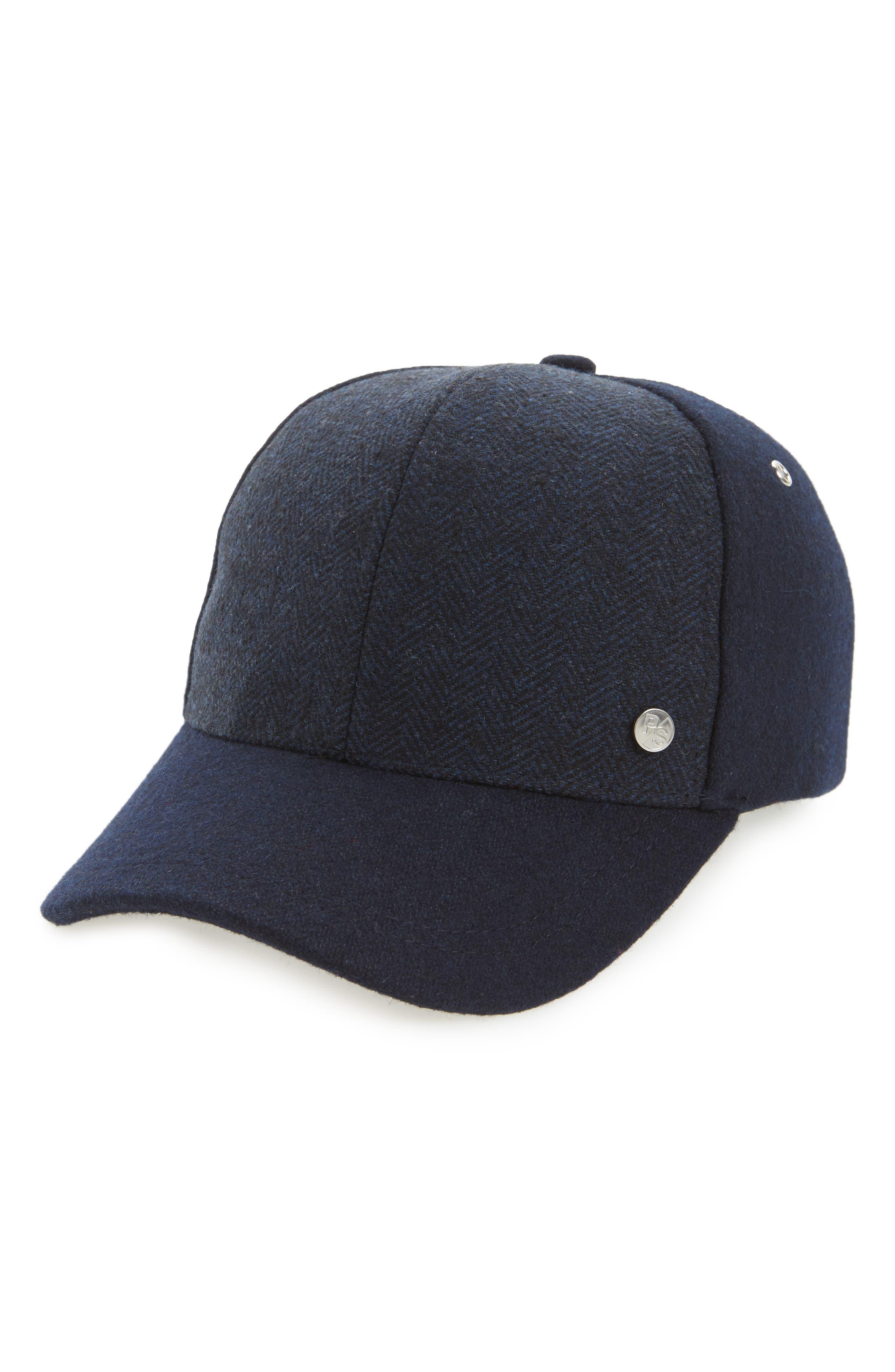 Herringbone Baseball Cap,                             Main thumbnail 1, color,                             Navy