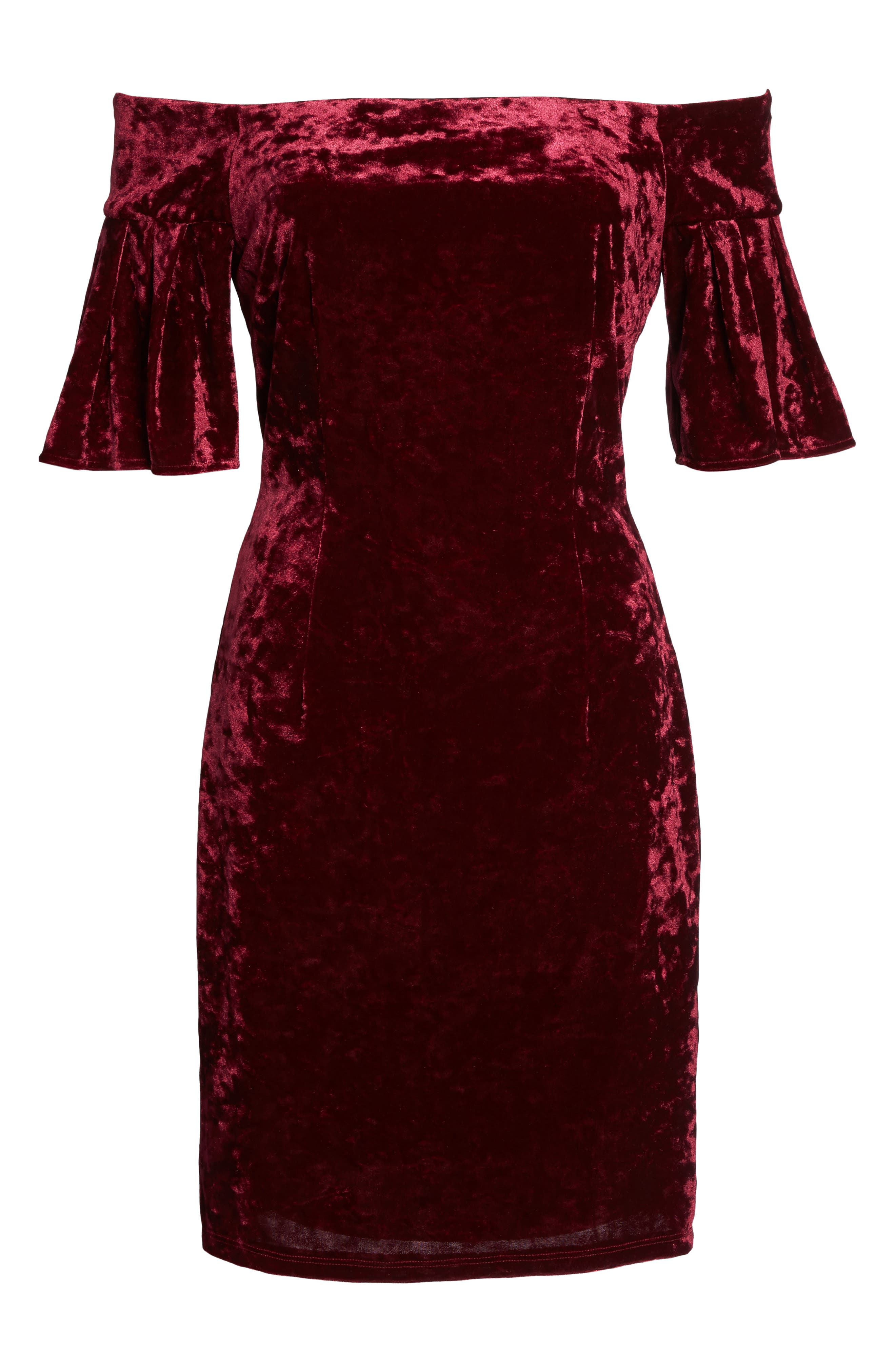 Off the Shoulder Velvet Dress,                             Alternate thumbnail 6, color,                             Wine