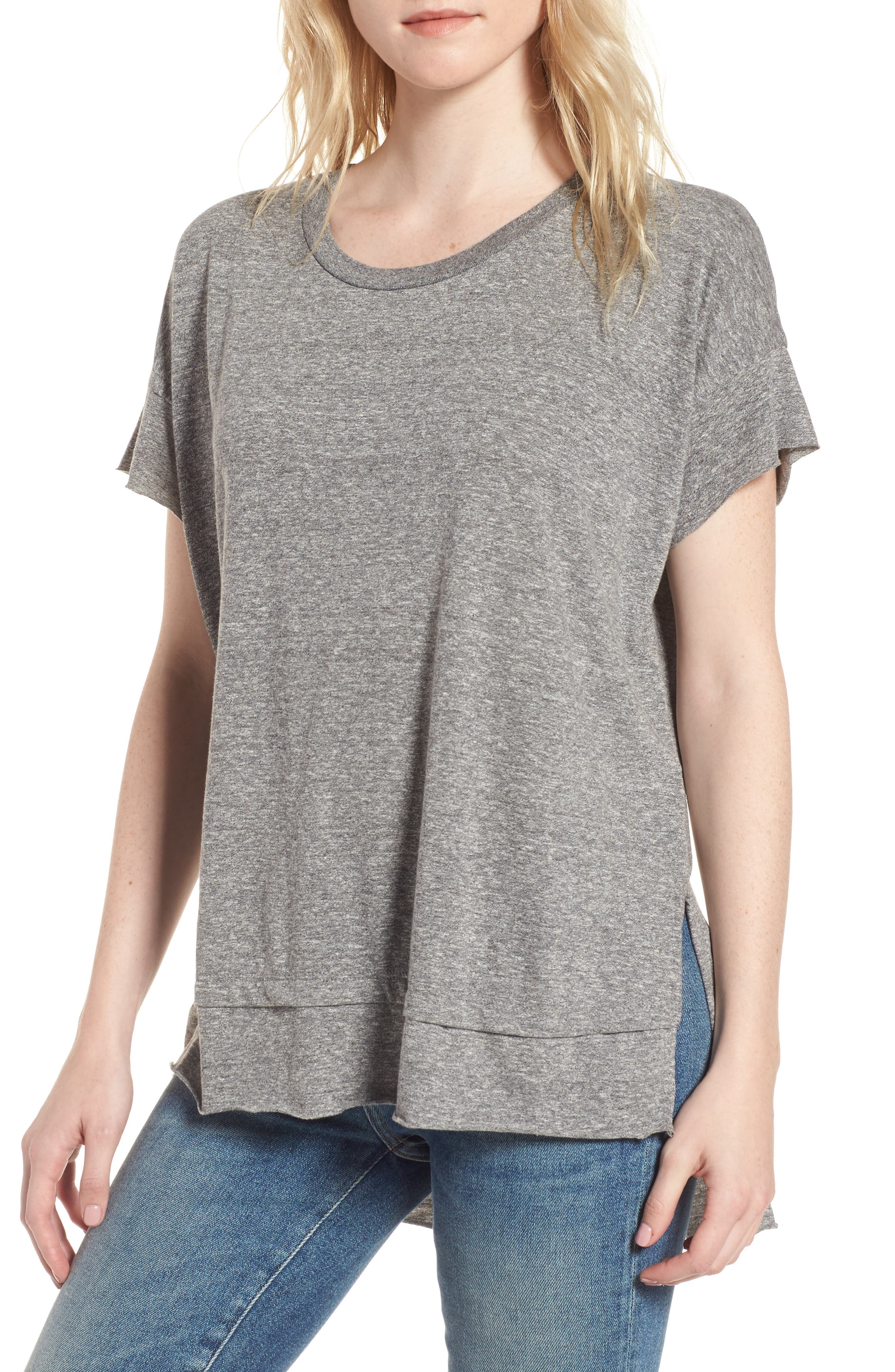 The High/Low Tee,                             Main thumbnail 1, color,                             Heather Grey Jersey