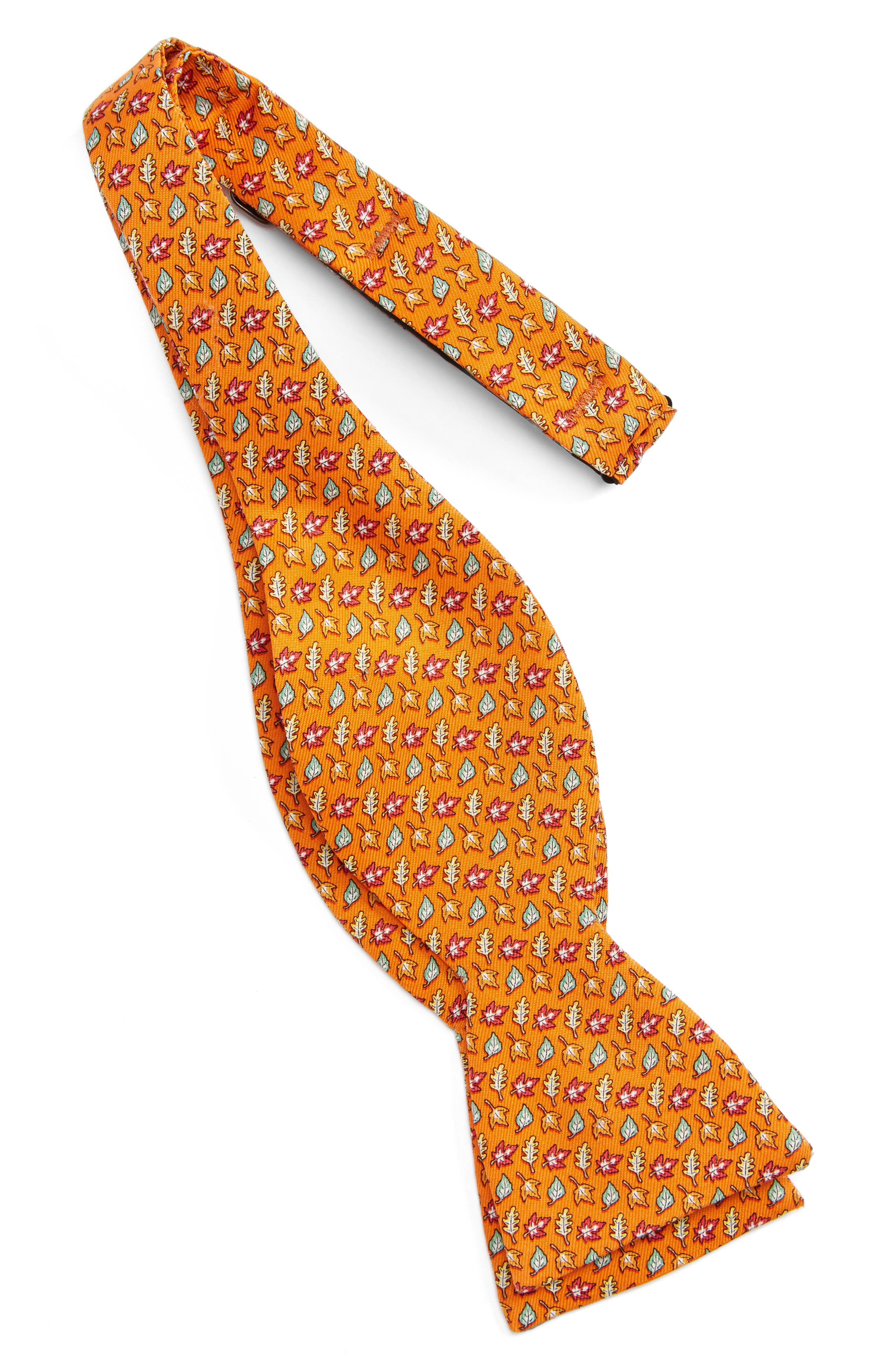 Fall Leaves Silk Bow Tie,                             Alternate thumbnail 2, color,                             Orange