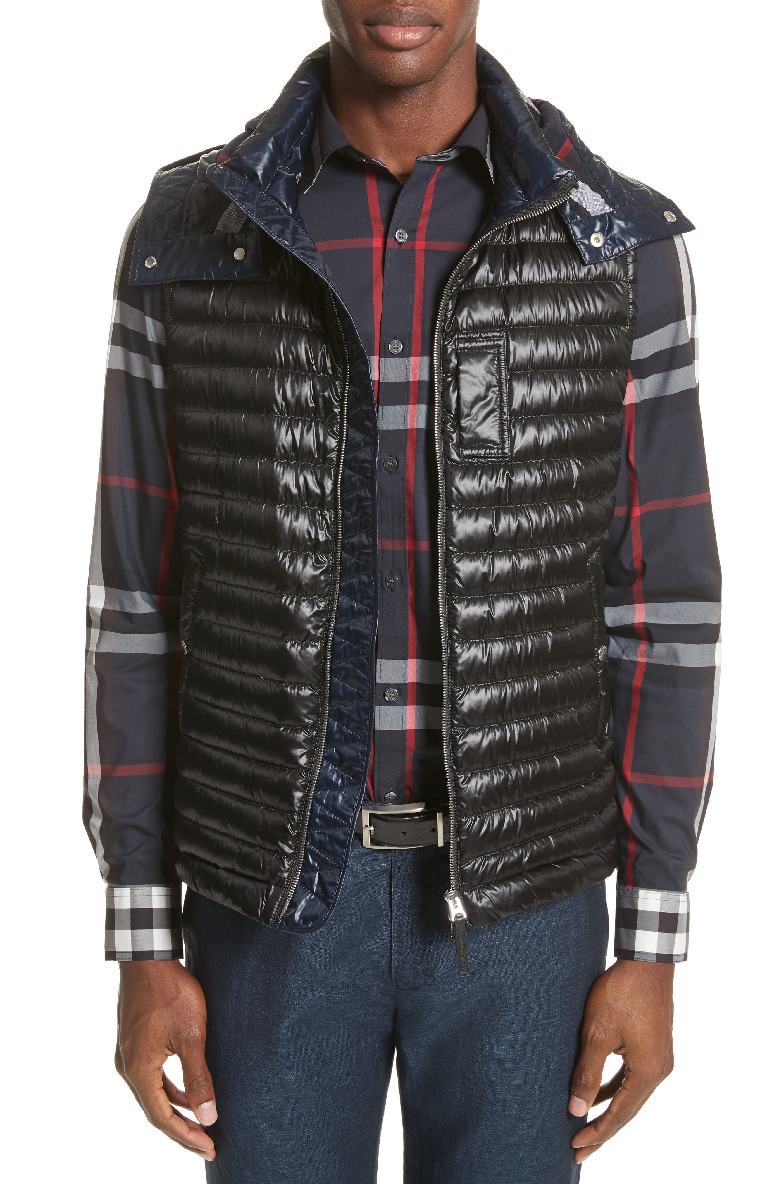 Aldridge Quilted Vest with Removable Hood,                         Main,                         color, Black
