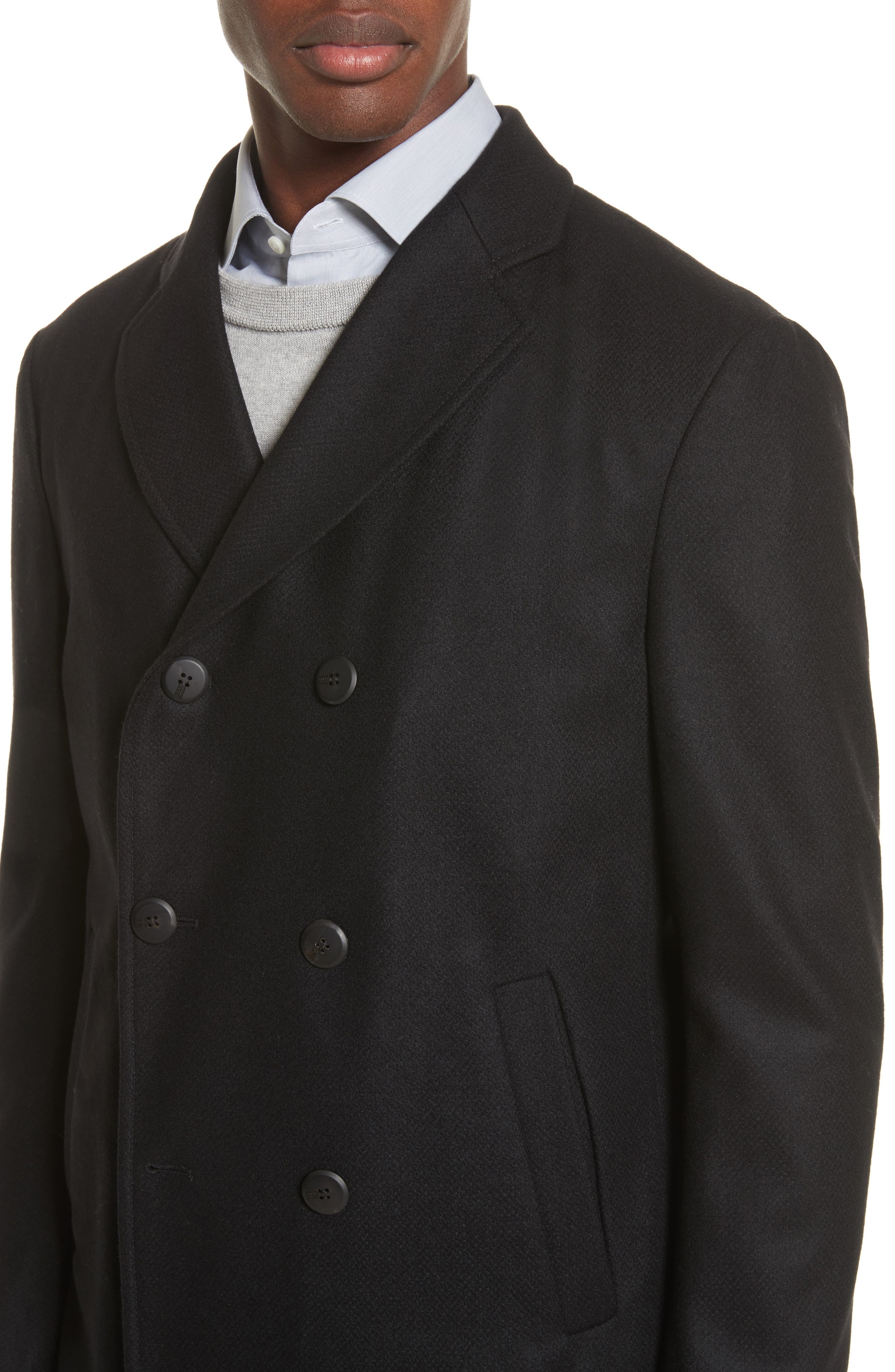 Double-Breasted Wool Topcoat,                             Alternate thumbnail 4, color,                             Black