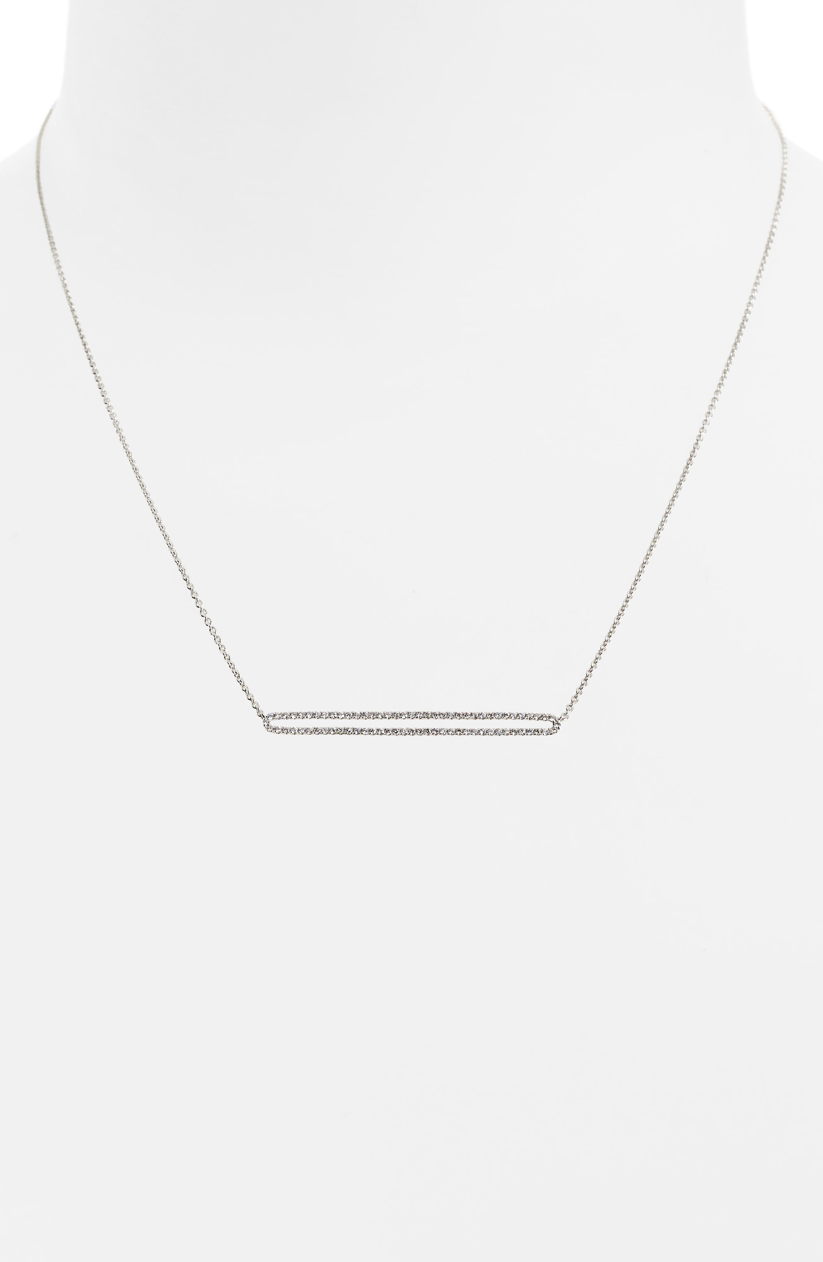Geo Diamond Pendant Necklace,                             Alternate thumbnail 2, color,                             White Gold