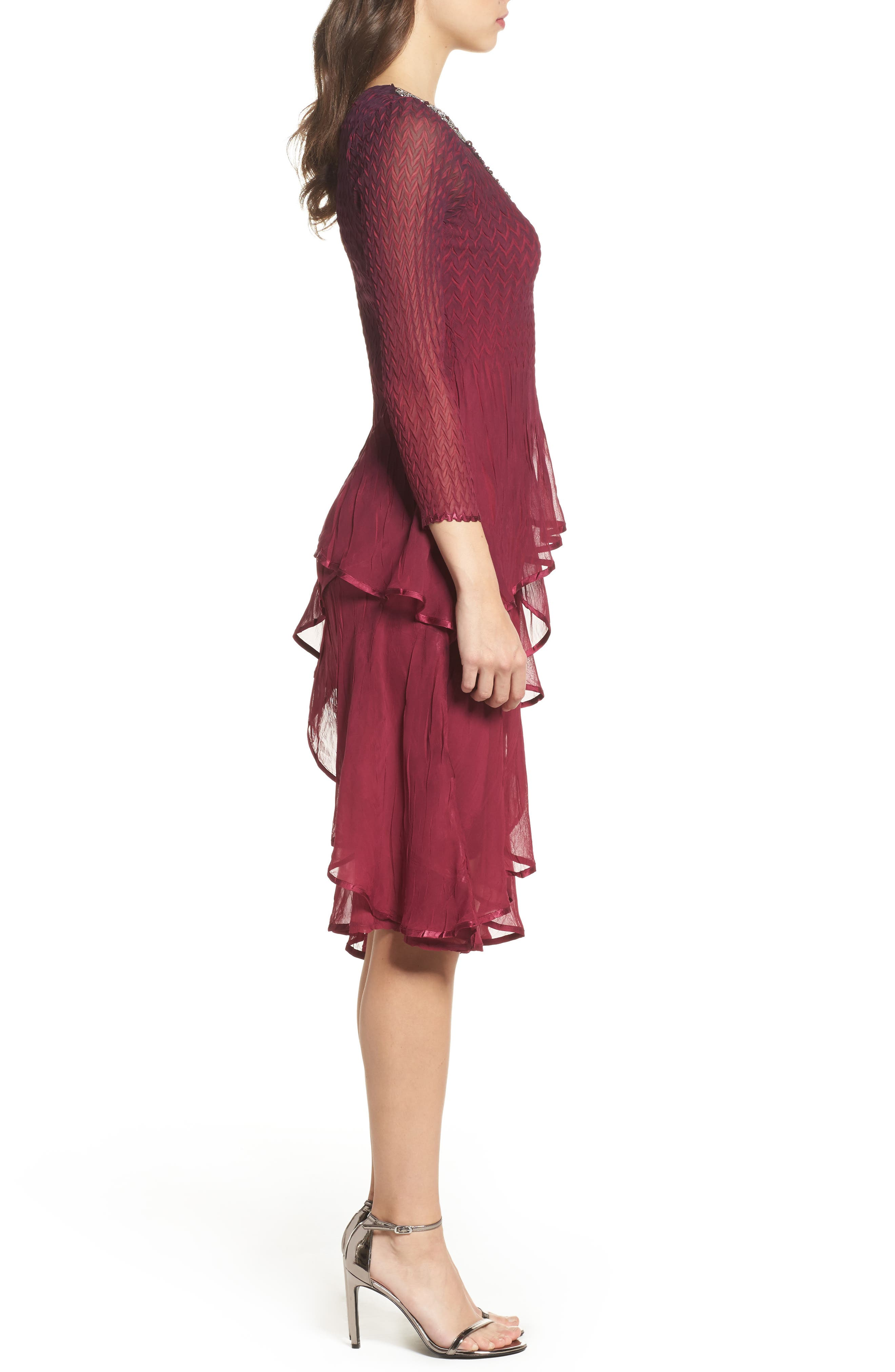 Tiered Ombré Charmeuse & Chiffon Dress,                             Alternate thumbnail 3, color,                             Red Plum Blue Ombre