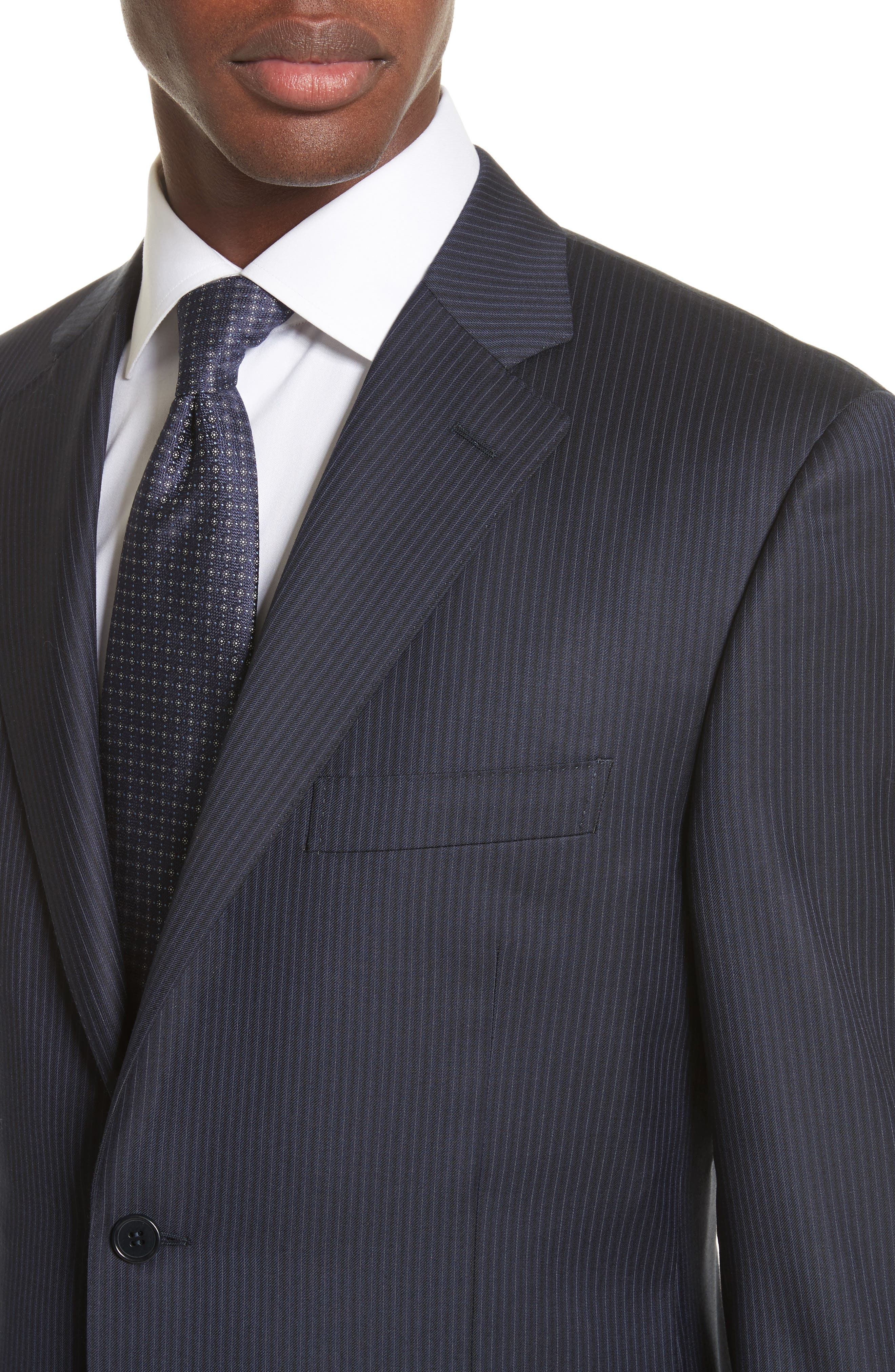 Classic Fit Stripe Wool Suit,                             Alternate thumbnail 4, color,                             Navy