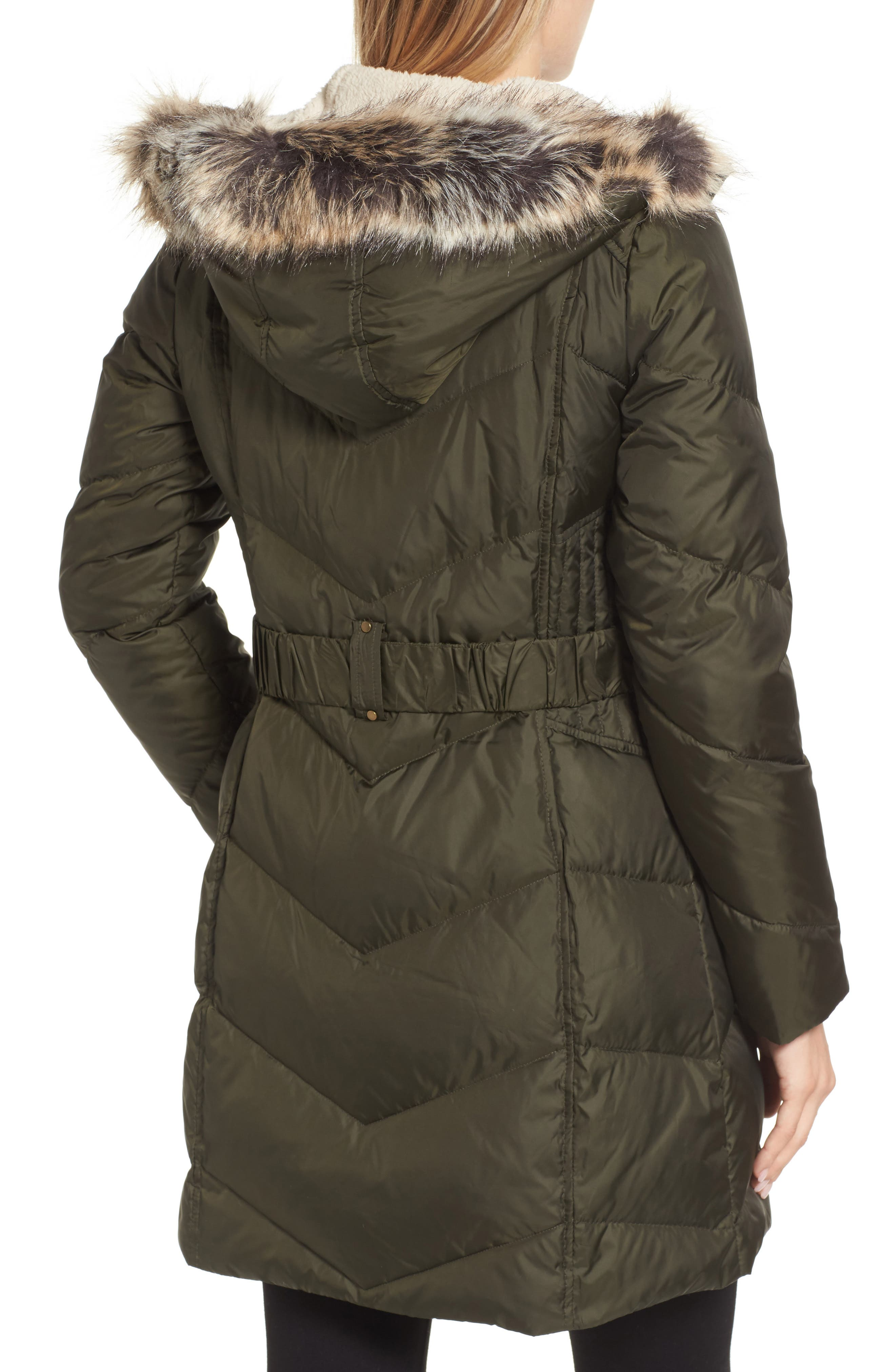 Hooded Down & Feather Fill Jacket with Faux Fur Trim,                             Alternate thumbnail 2, color,                             Loden