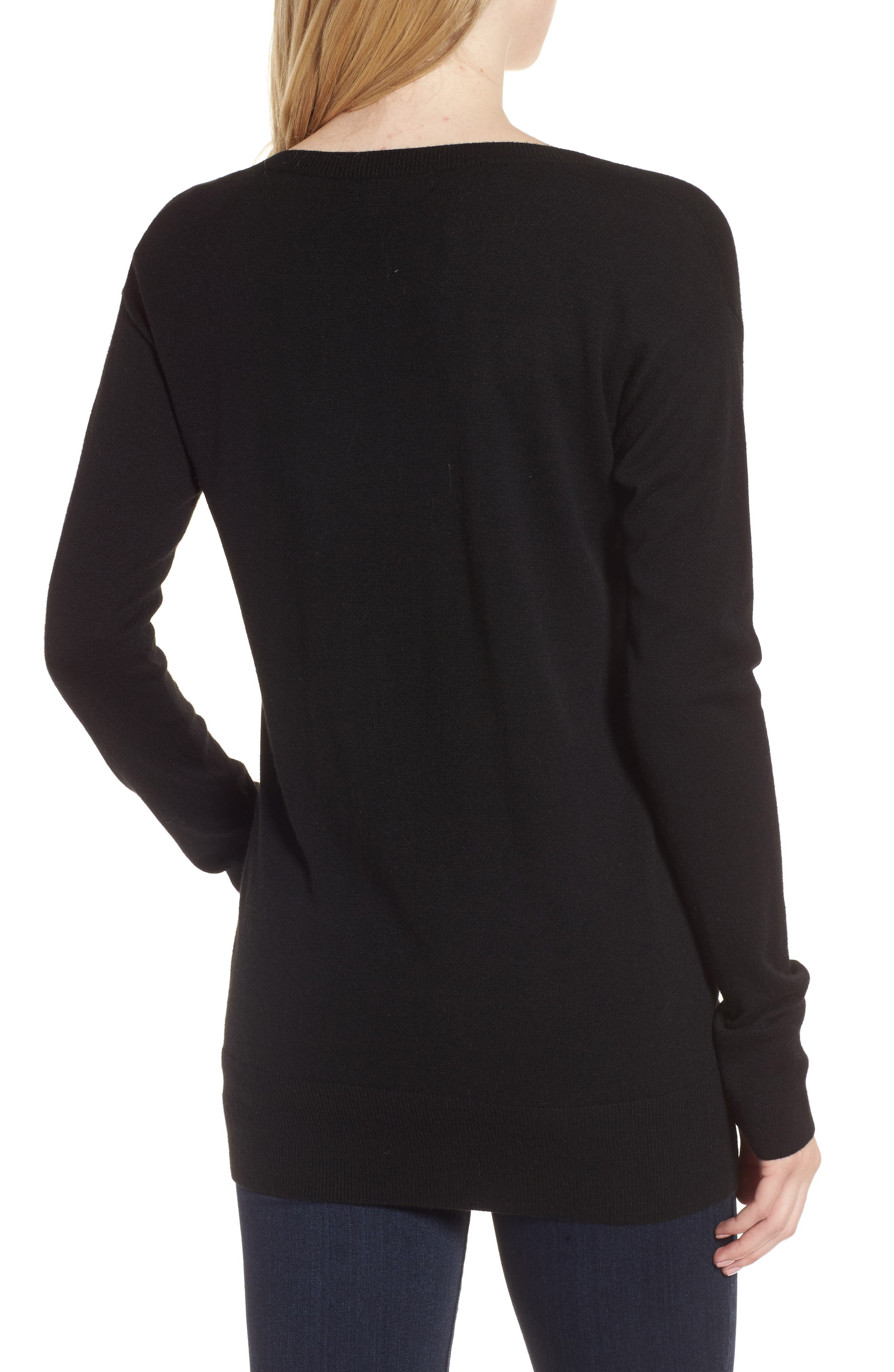 Ruched Sweater,                             Alternate thumbnail 2, color,                             Black