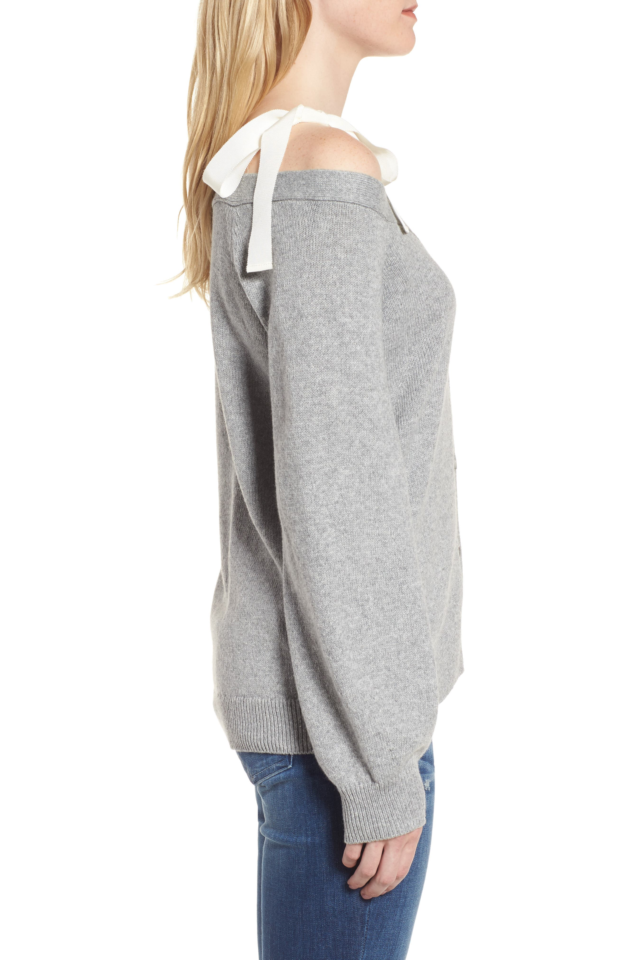 Shoulder Tie Sweater,                             Alternate thumbnail 4, color,                             Grey Heather