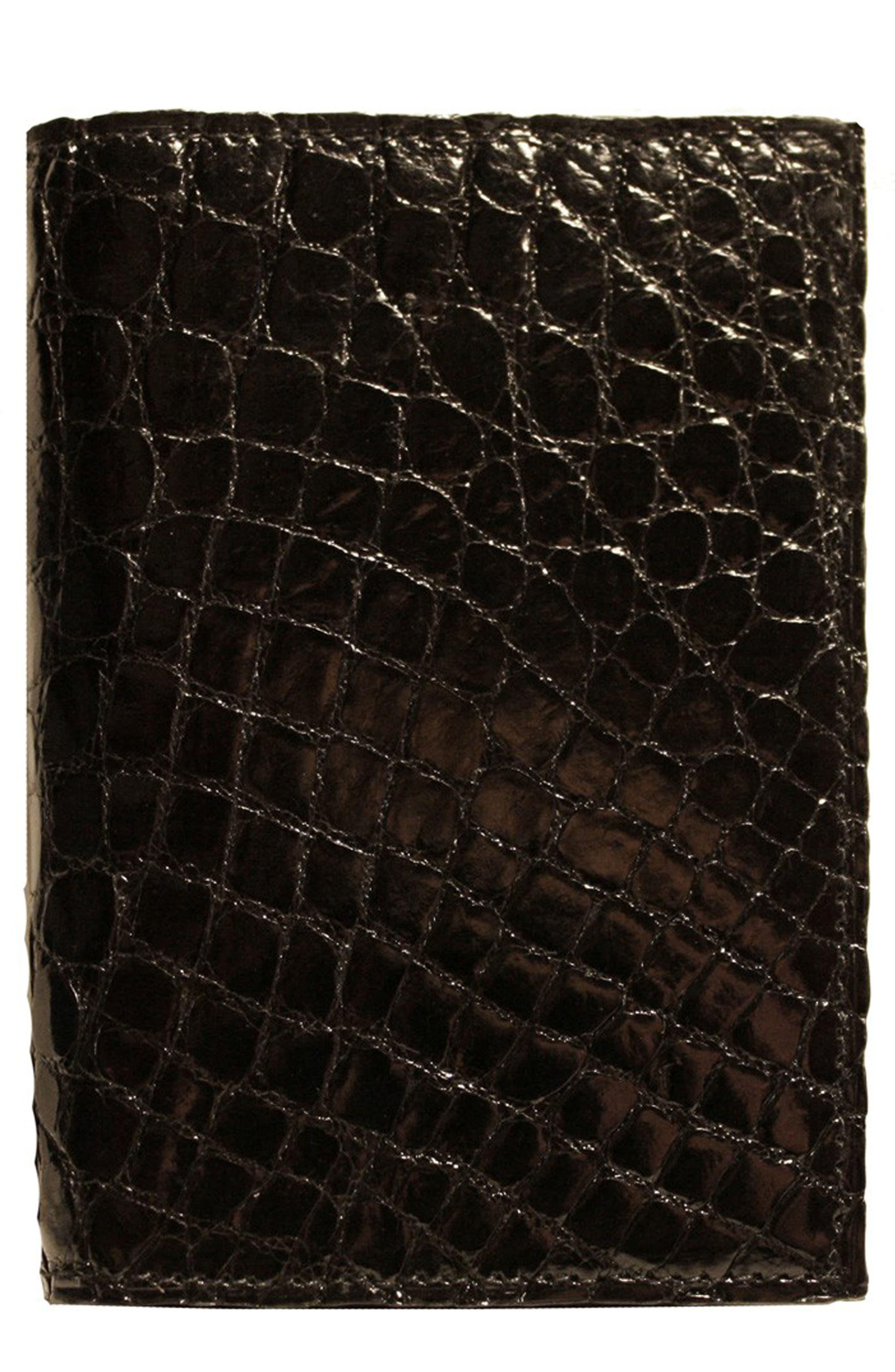 Crocodile Card Case,                             Main thumbnail 1, color,                             Black