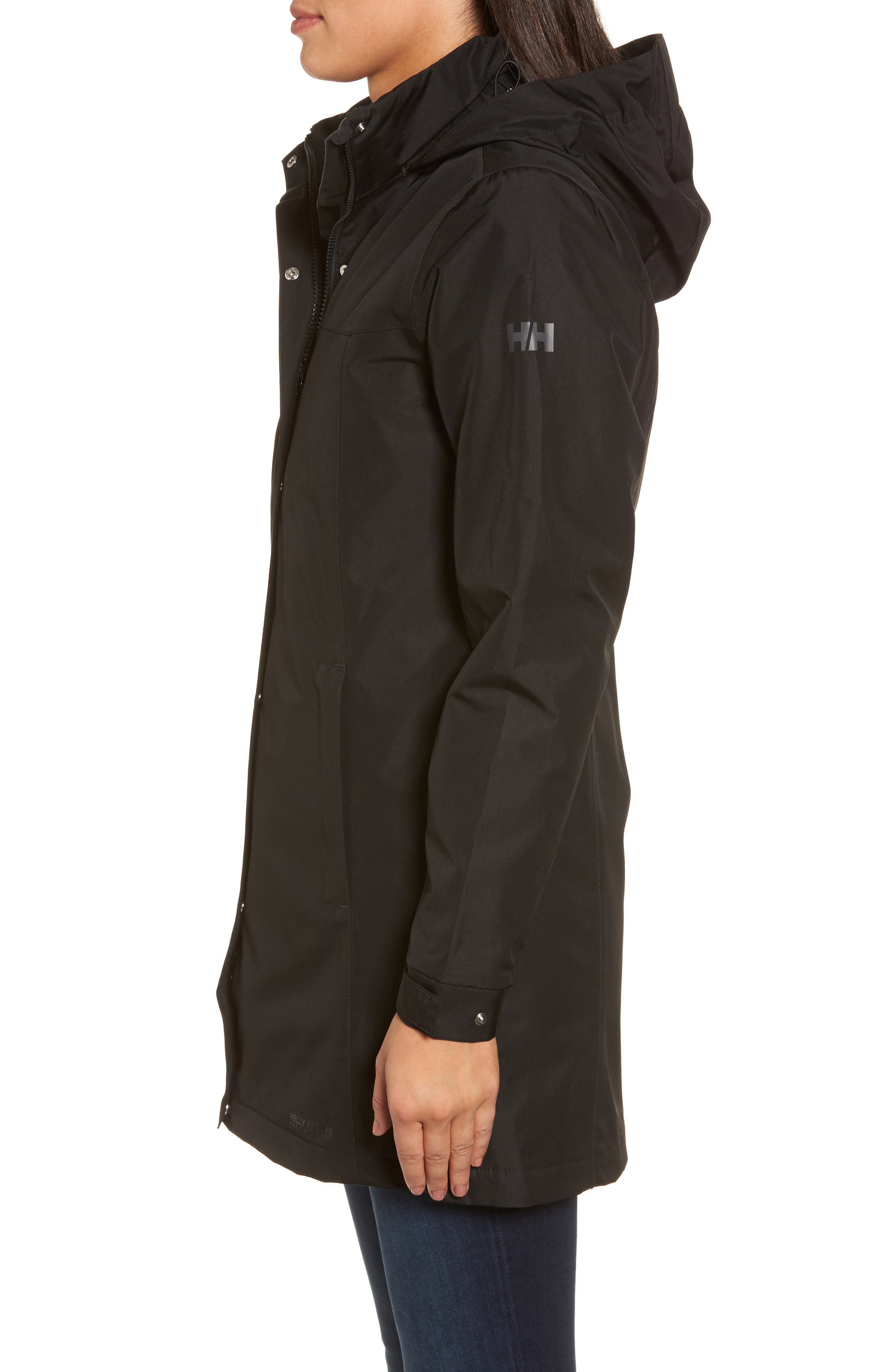 Aden Hooded Insulated Rain Jacket,                             Alternate thumbnail 3, color,                             Black