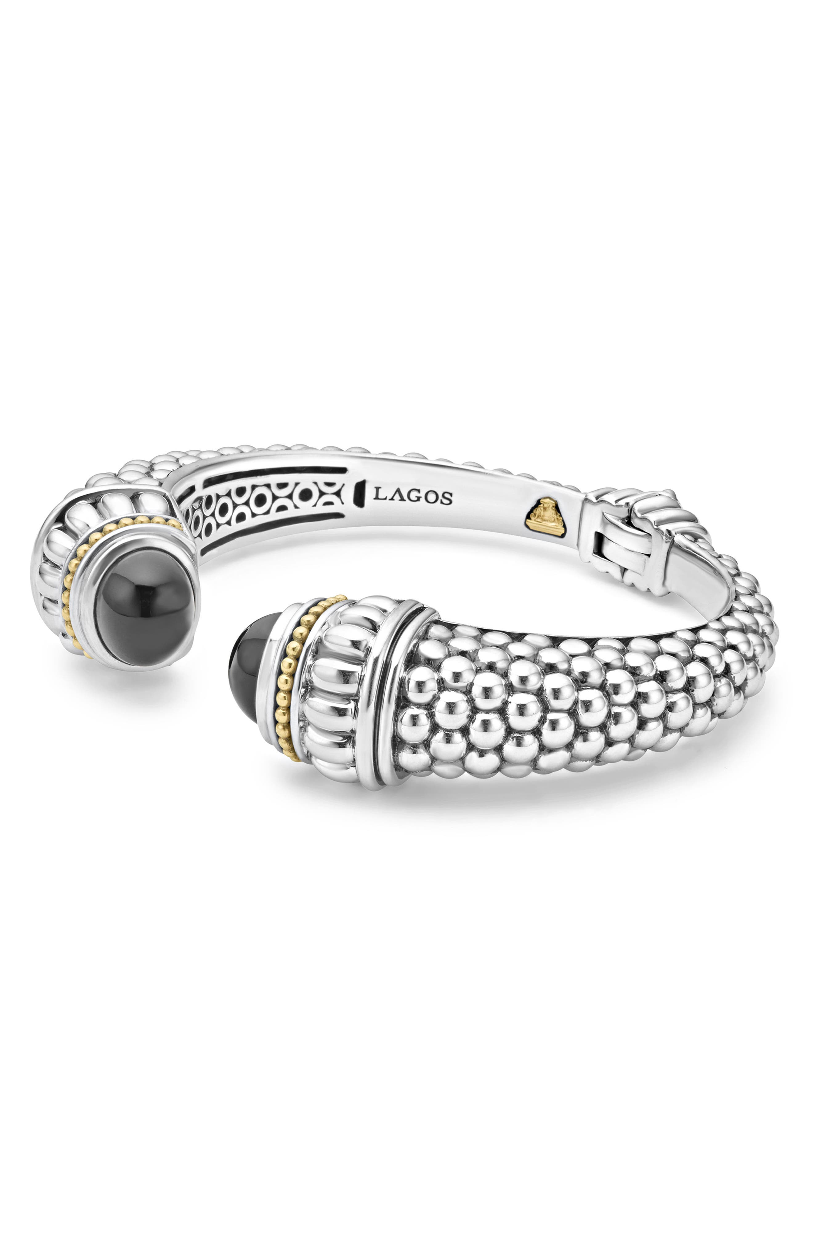 Caviar Color Hinge Wrist Cuff,                             Alternate thumbnail 3, color,                             Black Onyx