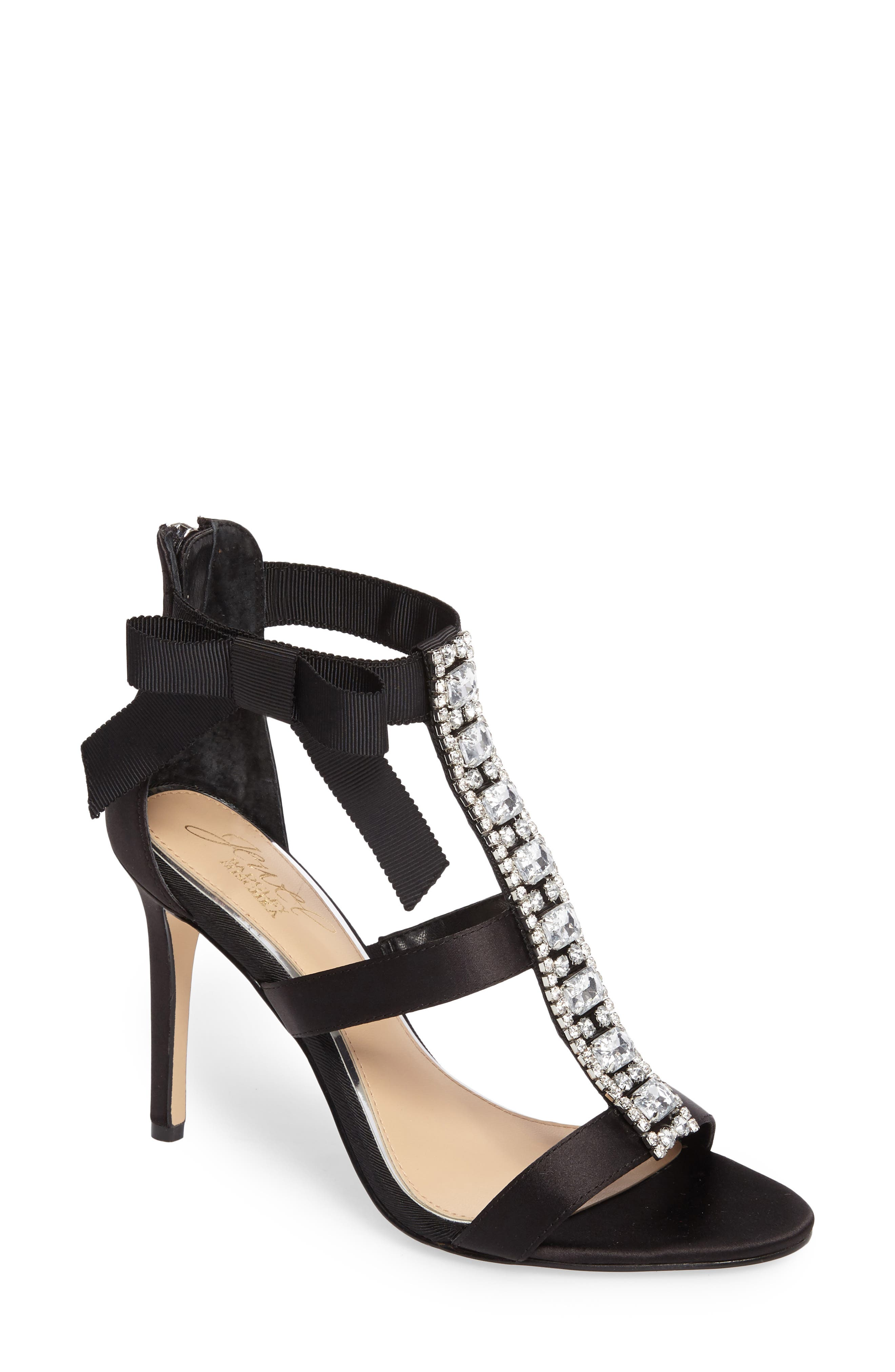 Henderson Embellished Bow Sandal,                         Main,                         color, Black Satin
