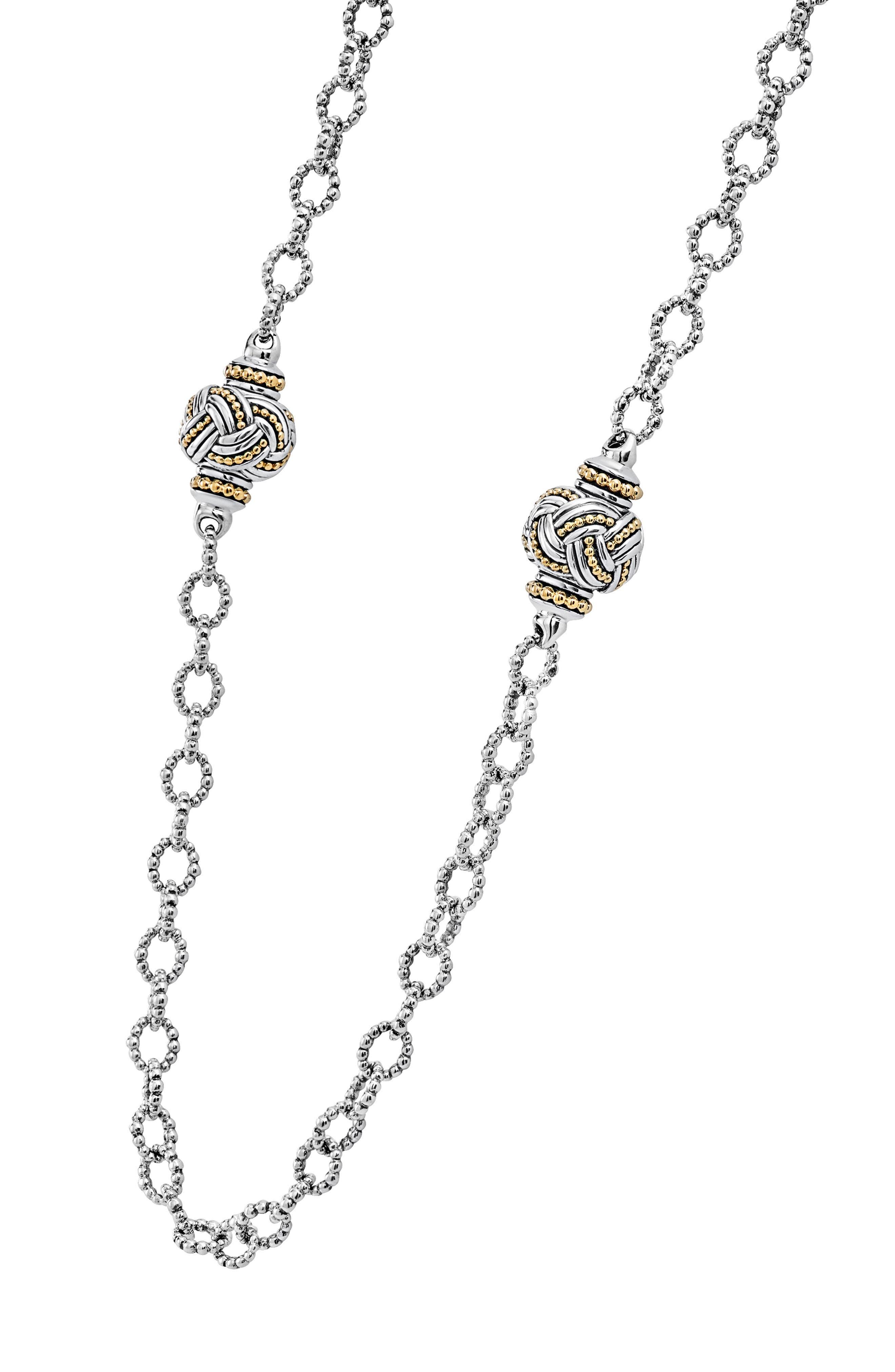 Torsade Long Station Link Necklace,                             Alternate thumbnail 4, color,                             Silver/ Gold