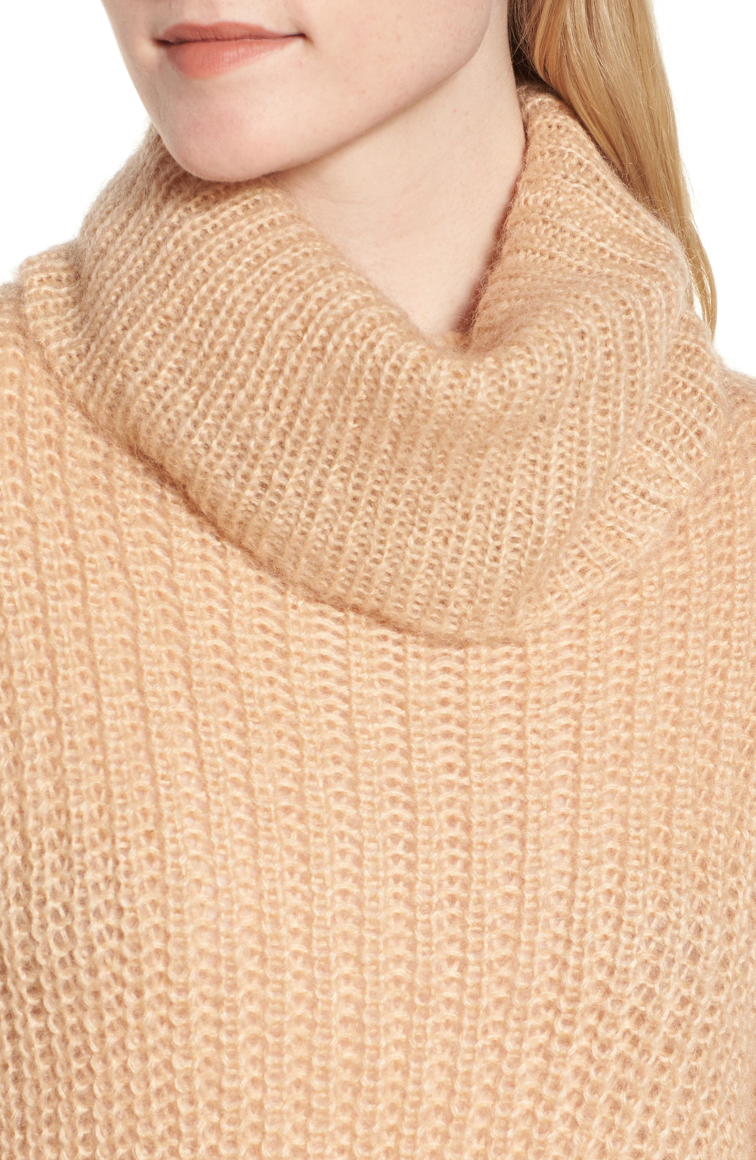 Cross Back Turtleneck Sweater,                             Alternate thumbnail 4, color,                             Toasted Almond