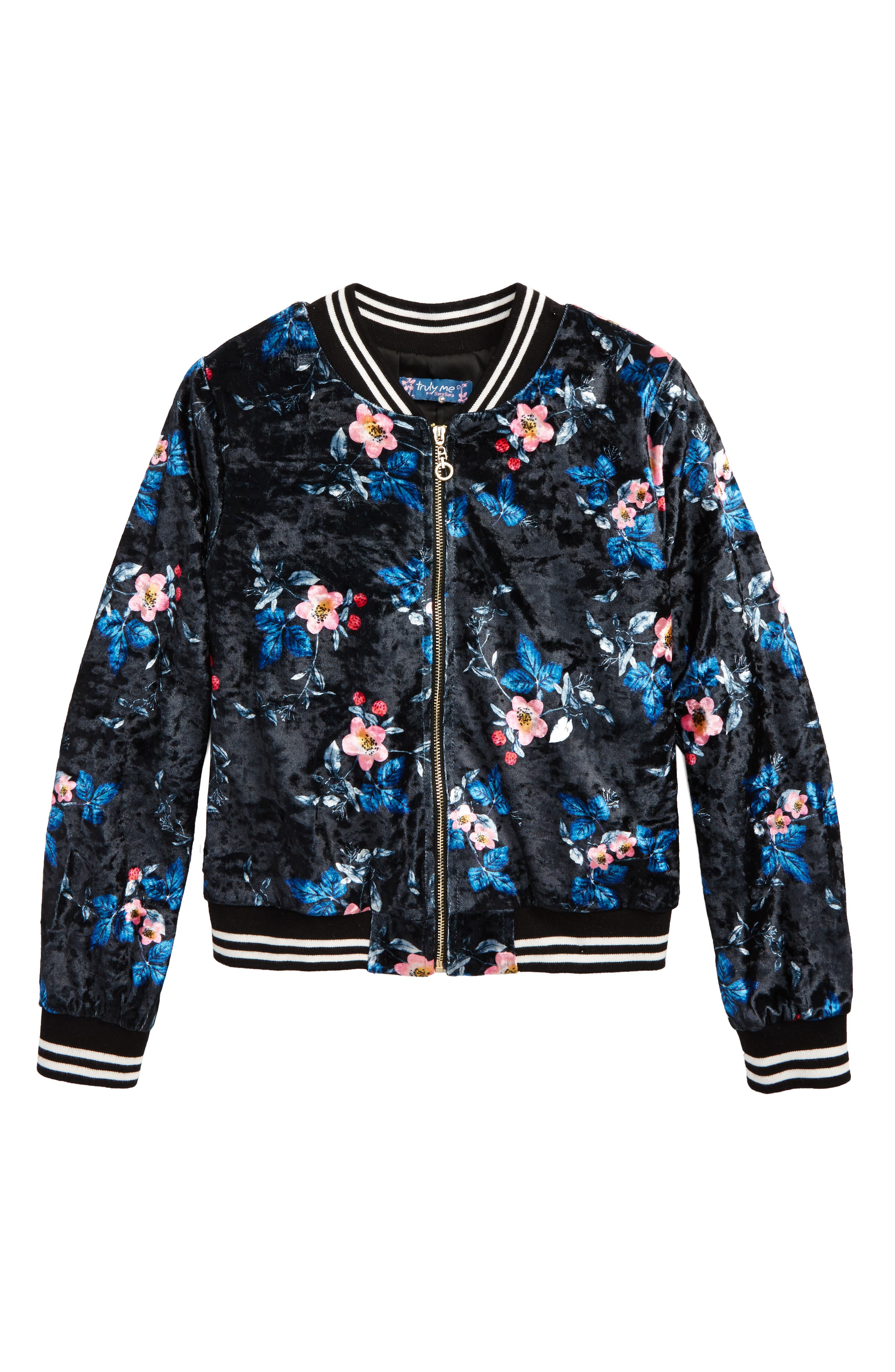 Truly Me Floral Print Bomber Jacket (Big Girls)
