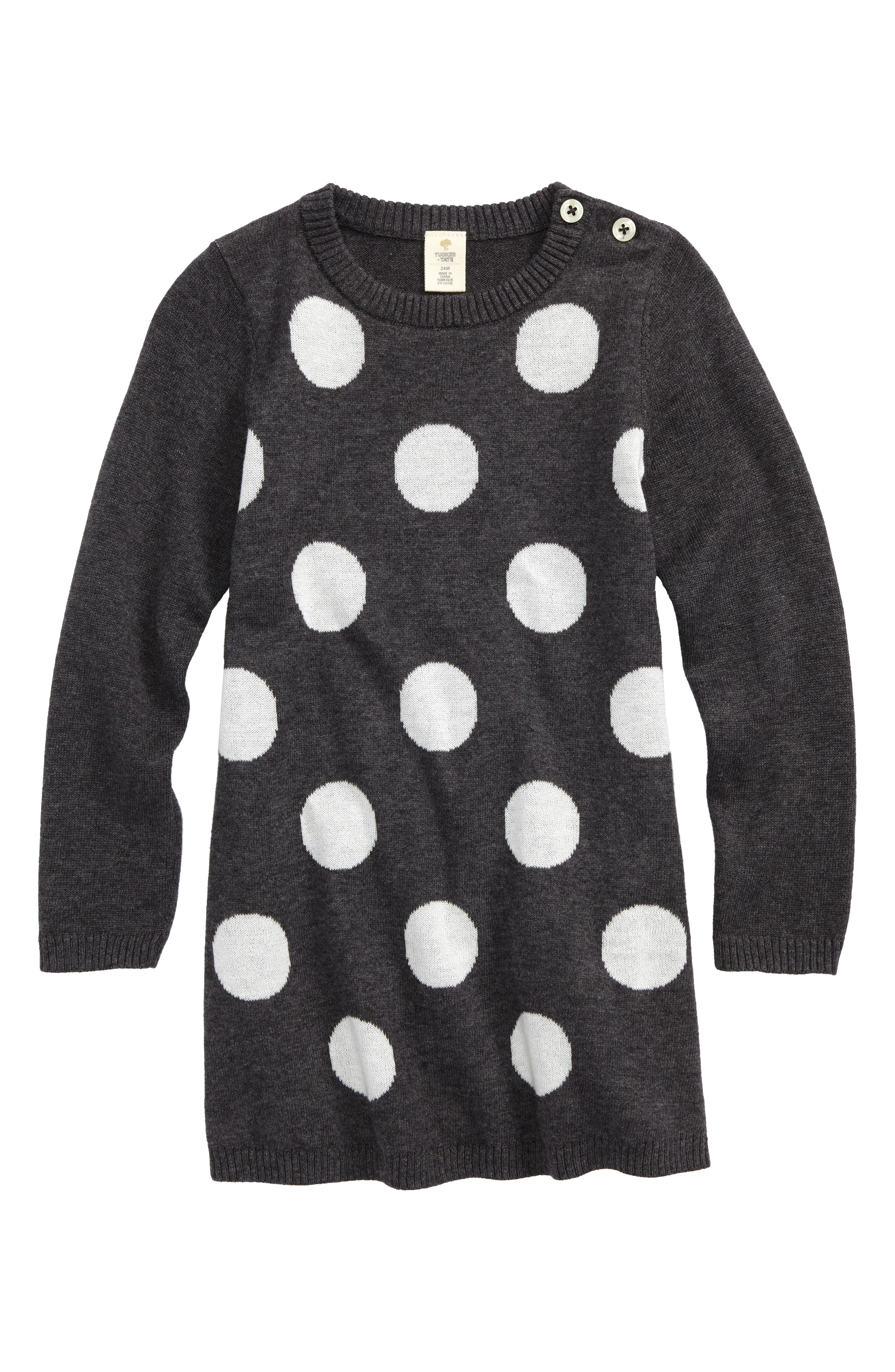 Polka Dot Sweater Dress,                         Main,                         color, Grey Charcoal Heather Dot