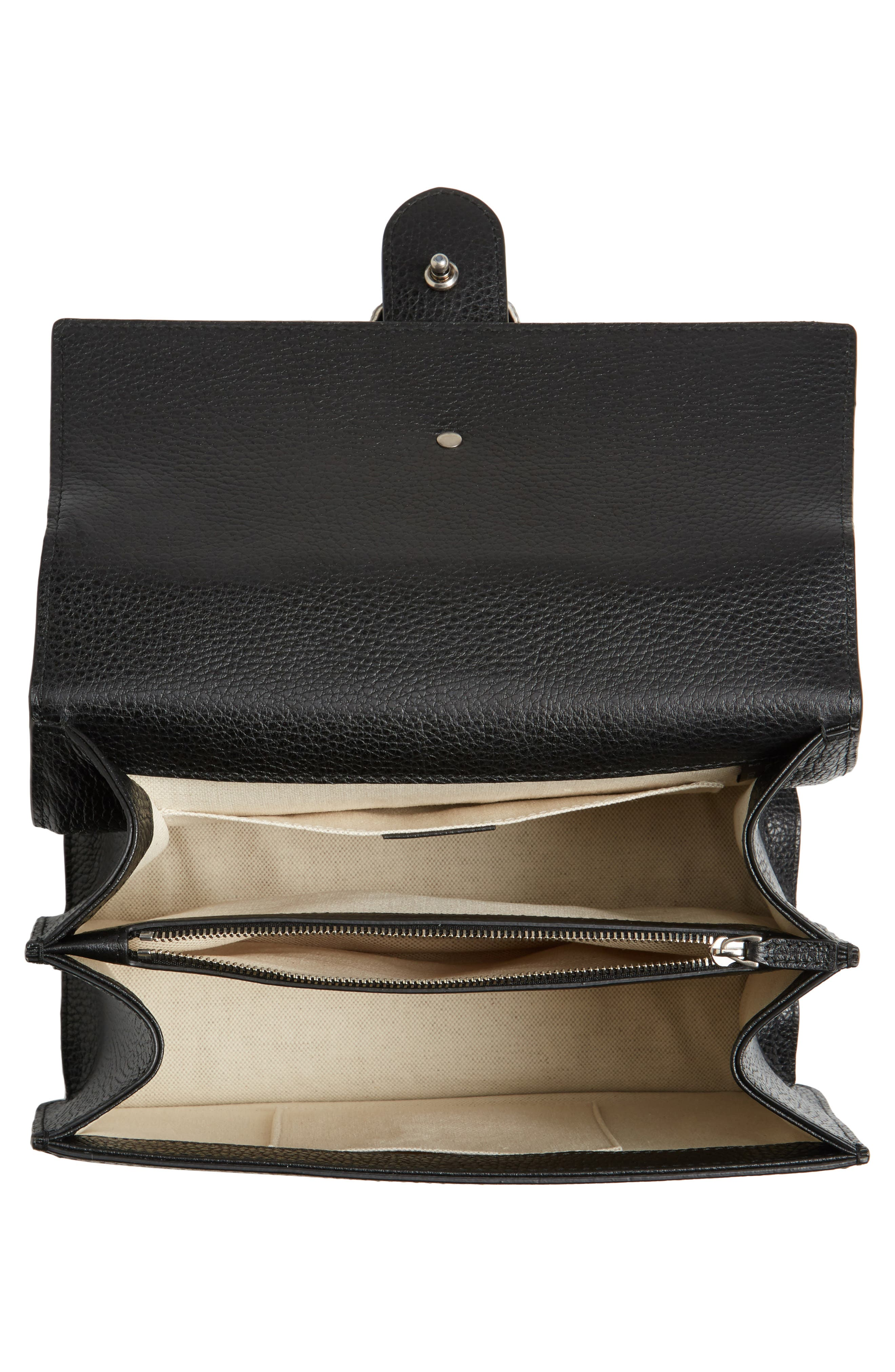 Medium Dionysus Leather Top Handle Satchel,                             Alternate thumbnail 4, color,                             Nero/ Vrv/ Black Diamond