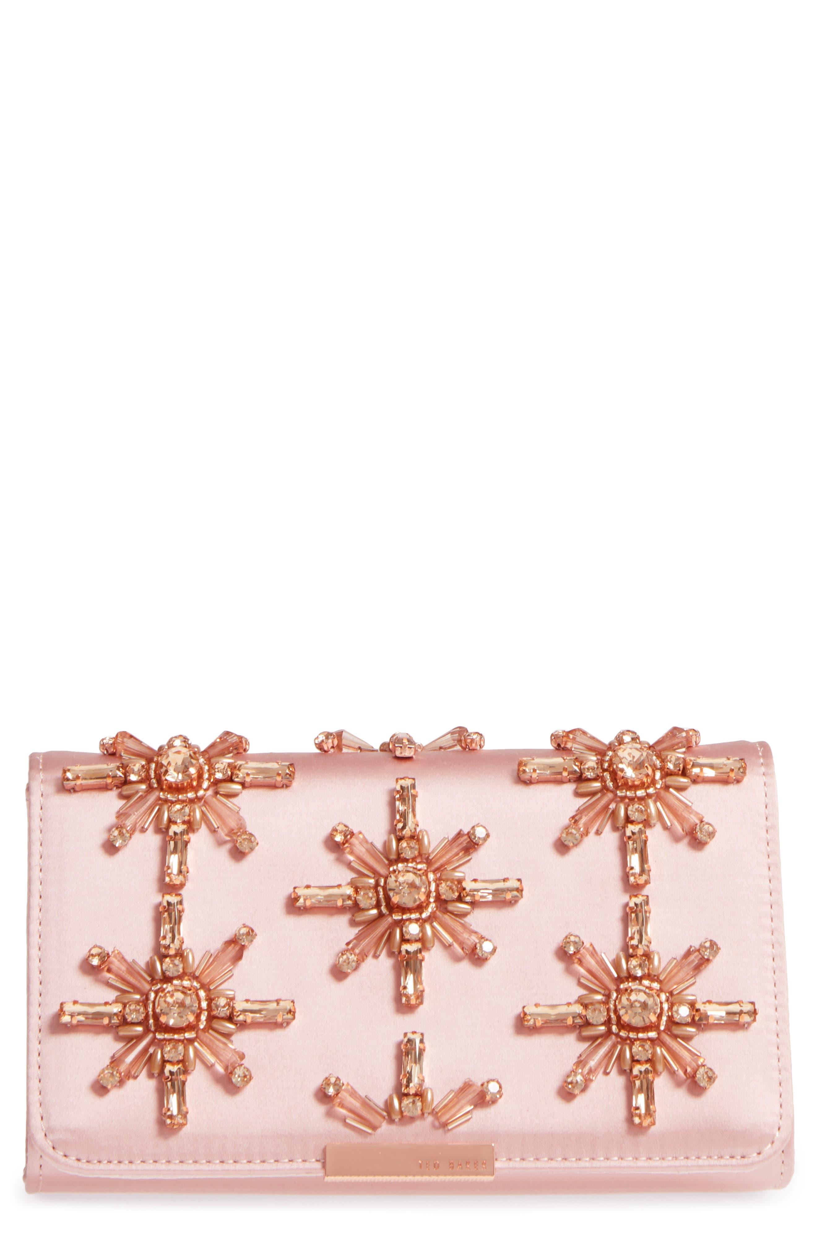 Ted Baker London Daveena Crystal Embellished Satin Clutch