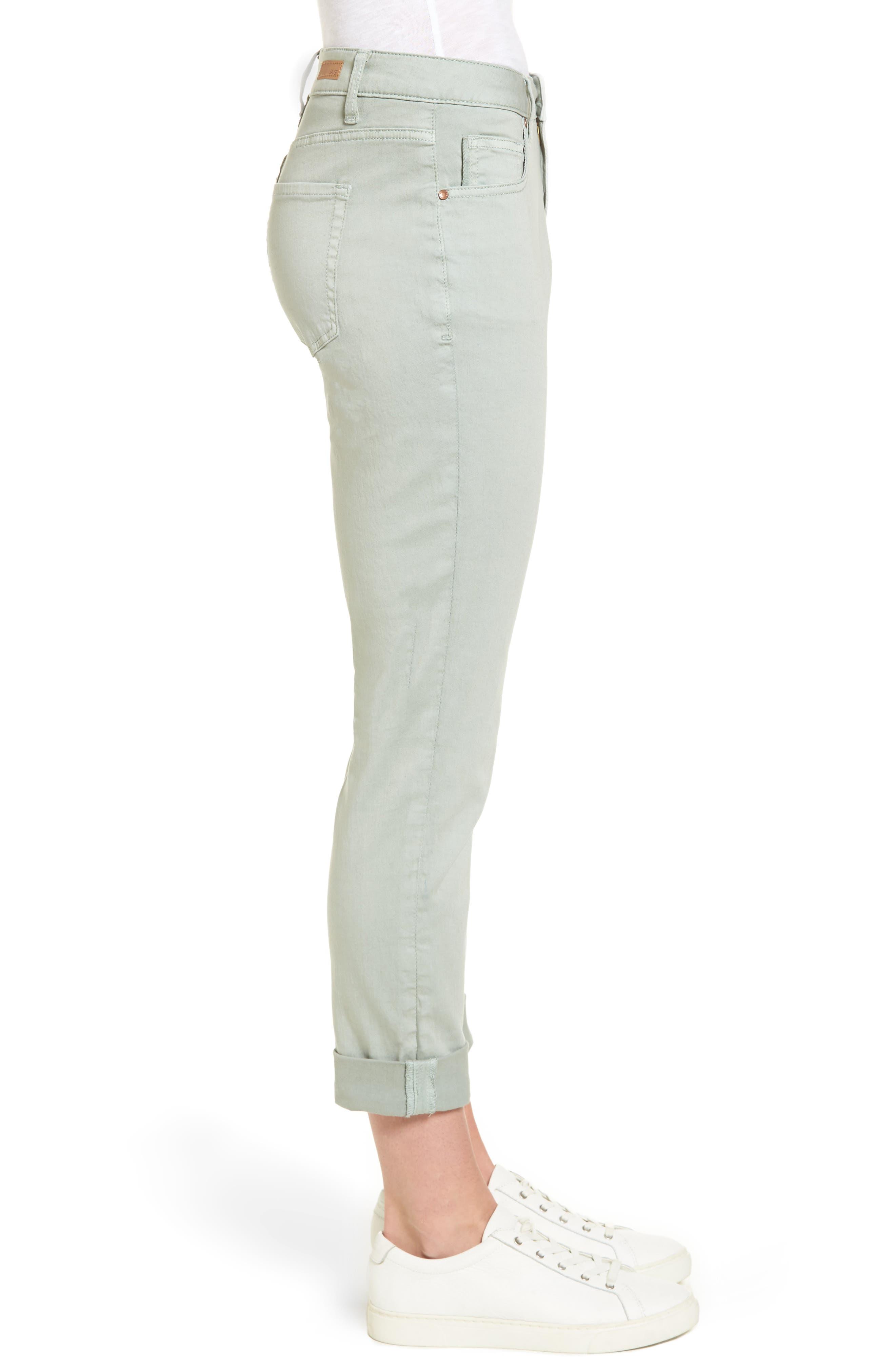 Carter Knit Denim Girlfriend Jeans,                             Alternate thumbnail 3, color,                             Beach Glass