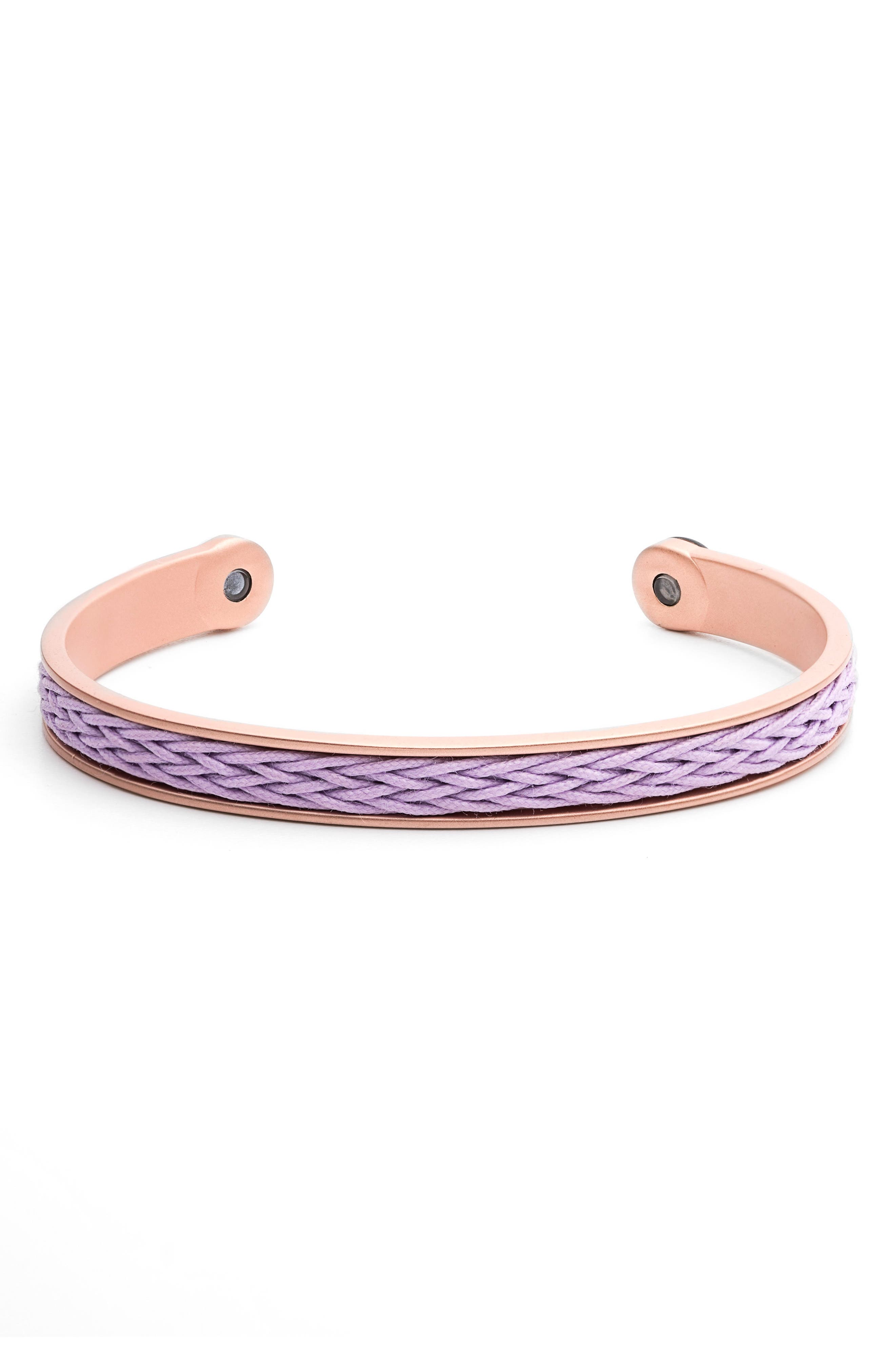 Braided Cuff Bracelet,                             Main thumbnail 1, color,                             Rose Gold/ Lilac