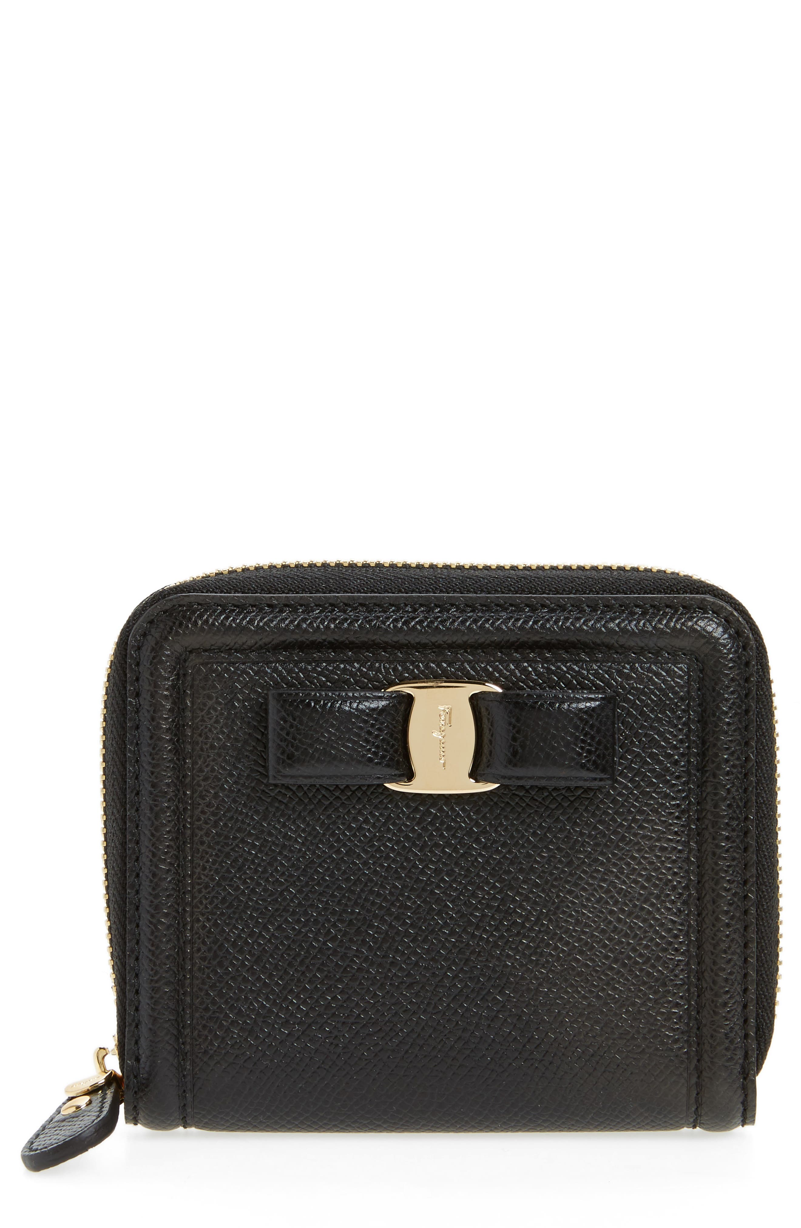 Vara Leather Zip Around French Wallet,                             Main thumbnail 1, color,                             Nero