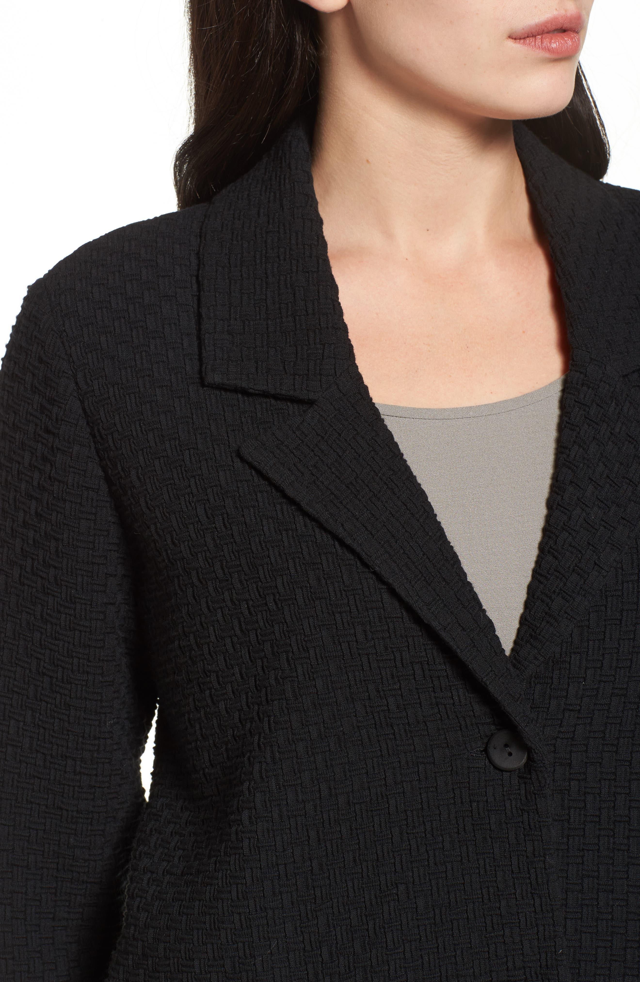 Boxy Jacquard Jacket,                             Alternate thumbnail 4, color,                             Black